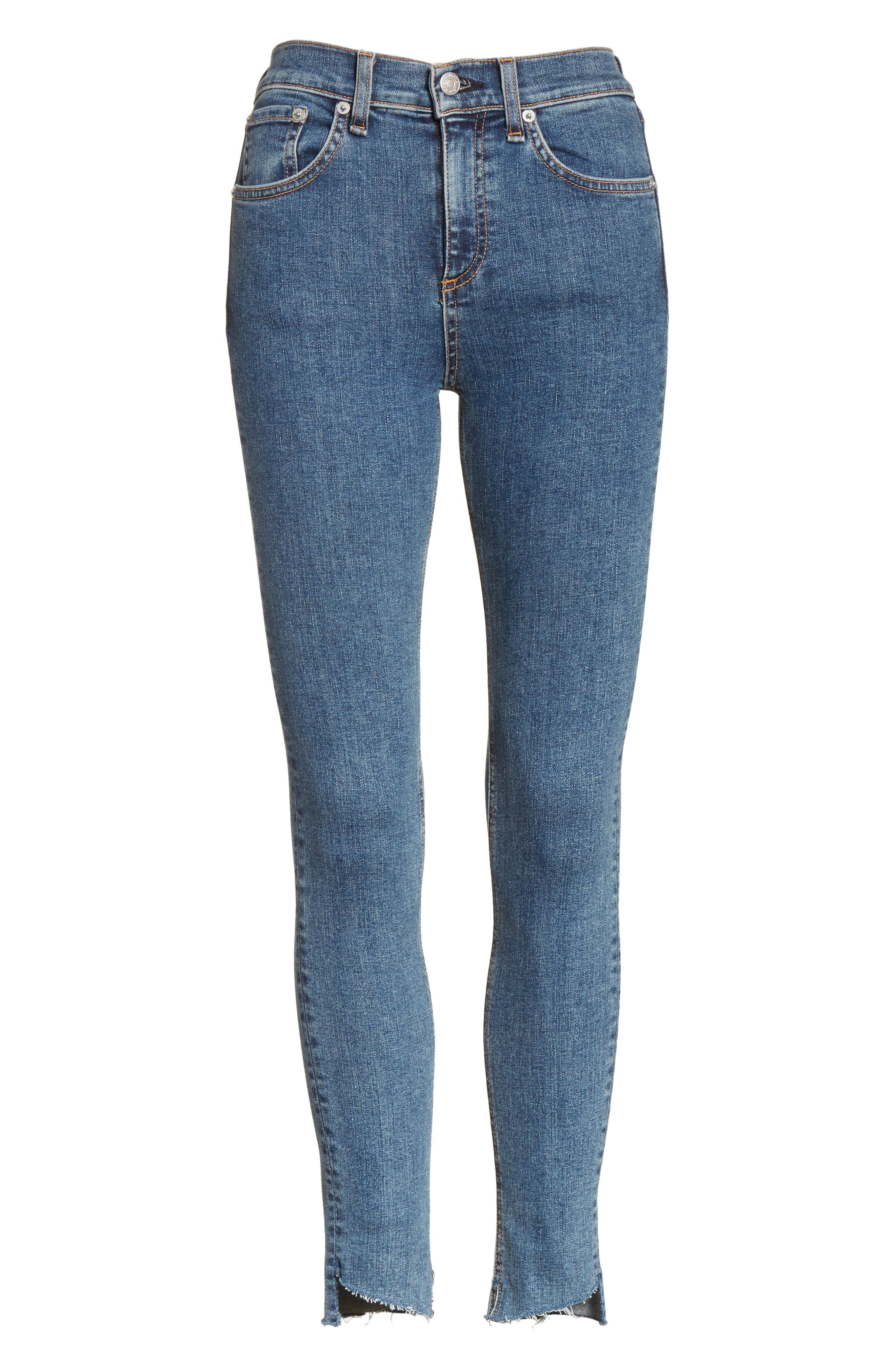 High Waist Ankle Skinny Jeans,                             Alternate thumbnail 6, color,                             Clean Commodore