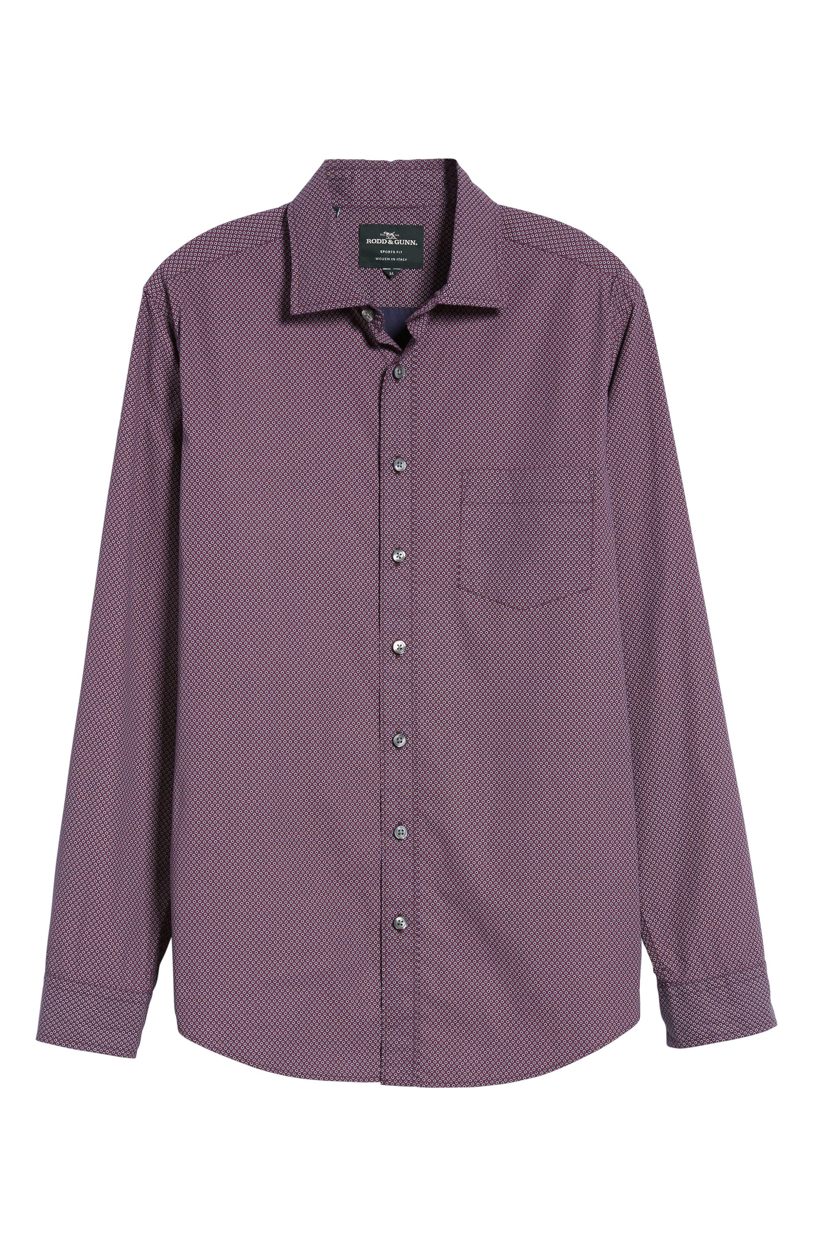 Ingleton Regular Fit Dot Sport Shirt,                             Alternate thumbnail 6, color,                             Merlot