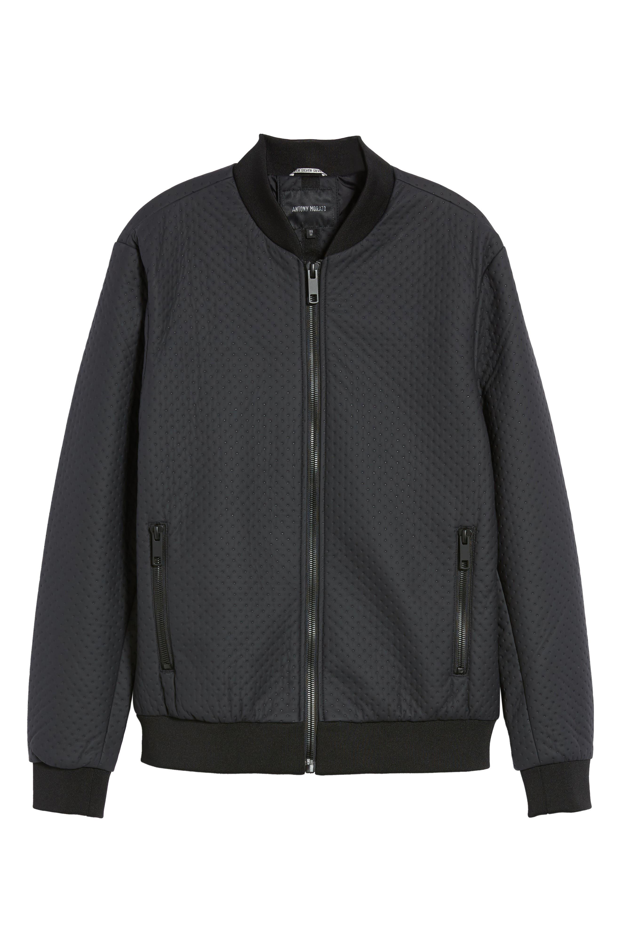 Faux Leather Jacket,                             Alternate thumbnail 6, color,                             Loud Blue