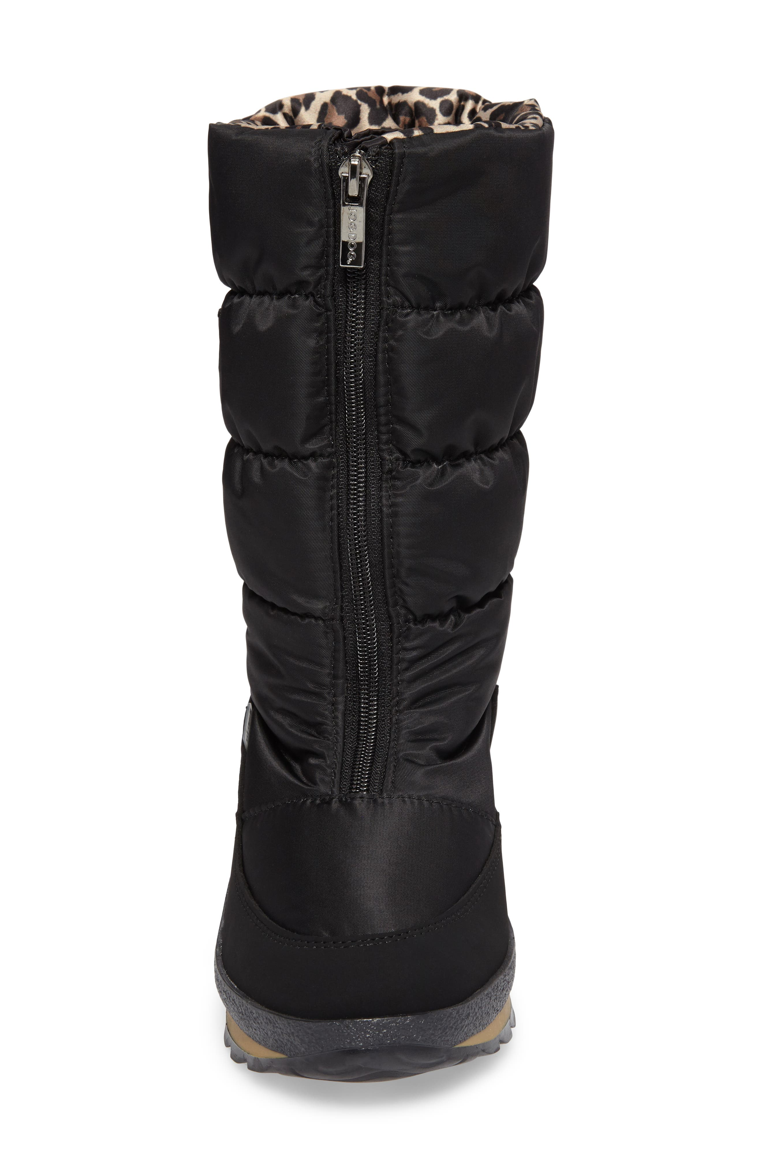 Cervina Waterproof Zip-Up Channel Quilted Boot,                             Alternate thumbnail 4, color,                             Black Leopard Nylon