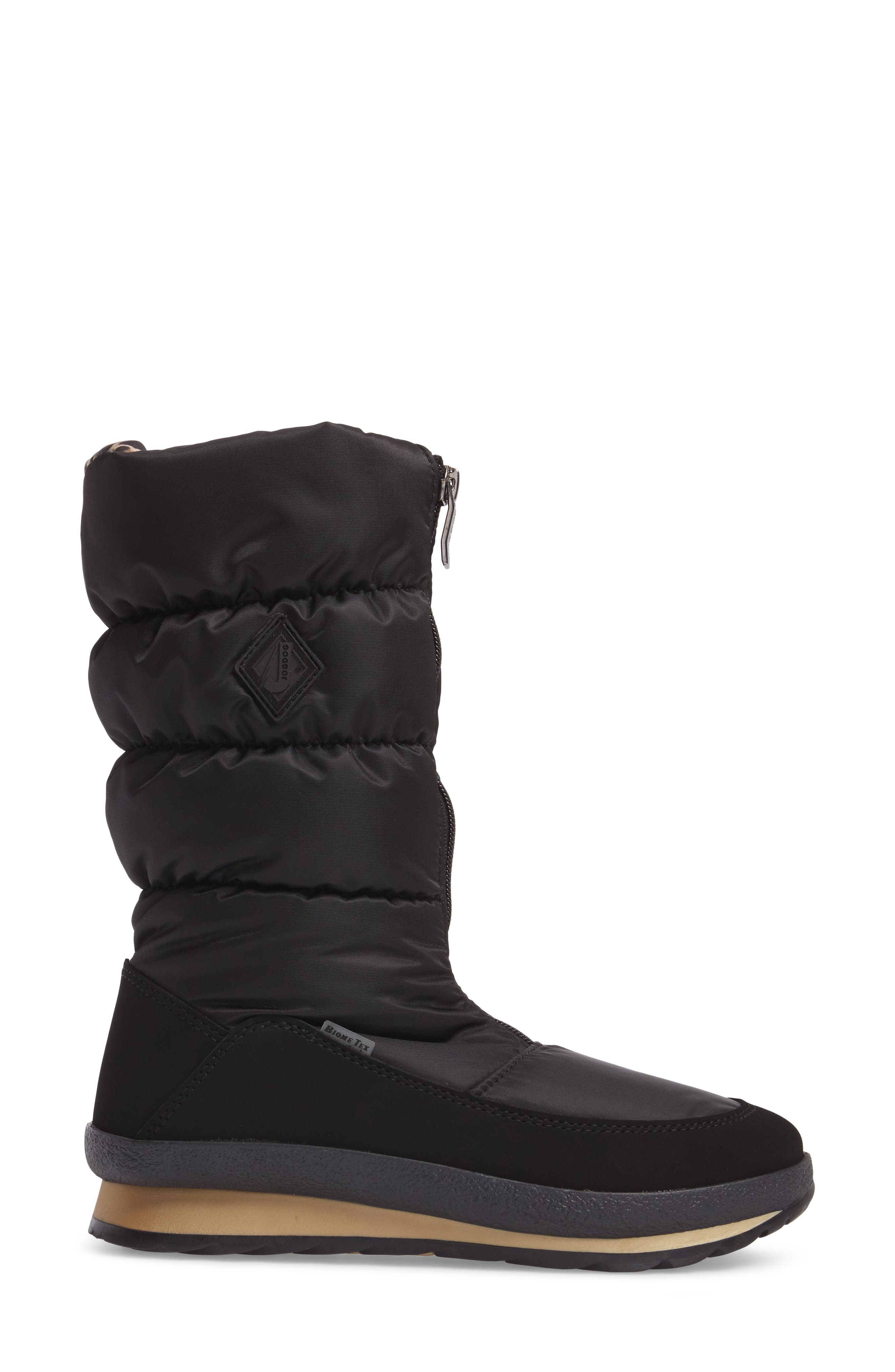 Cervina Waterproof Zip-Up Channel Quilted Boot,                             Alternate thumbnail 3, color,                             Black Leopard Nylon