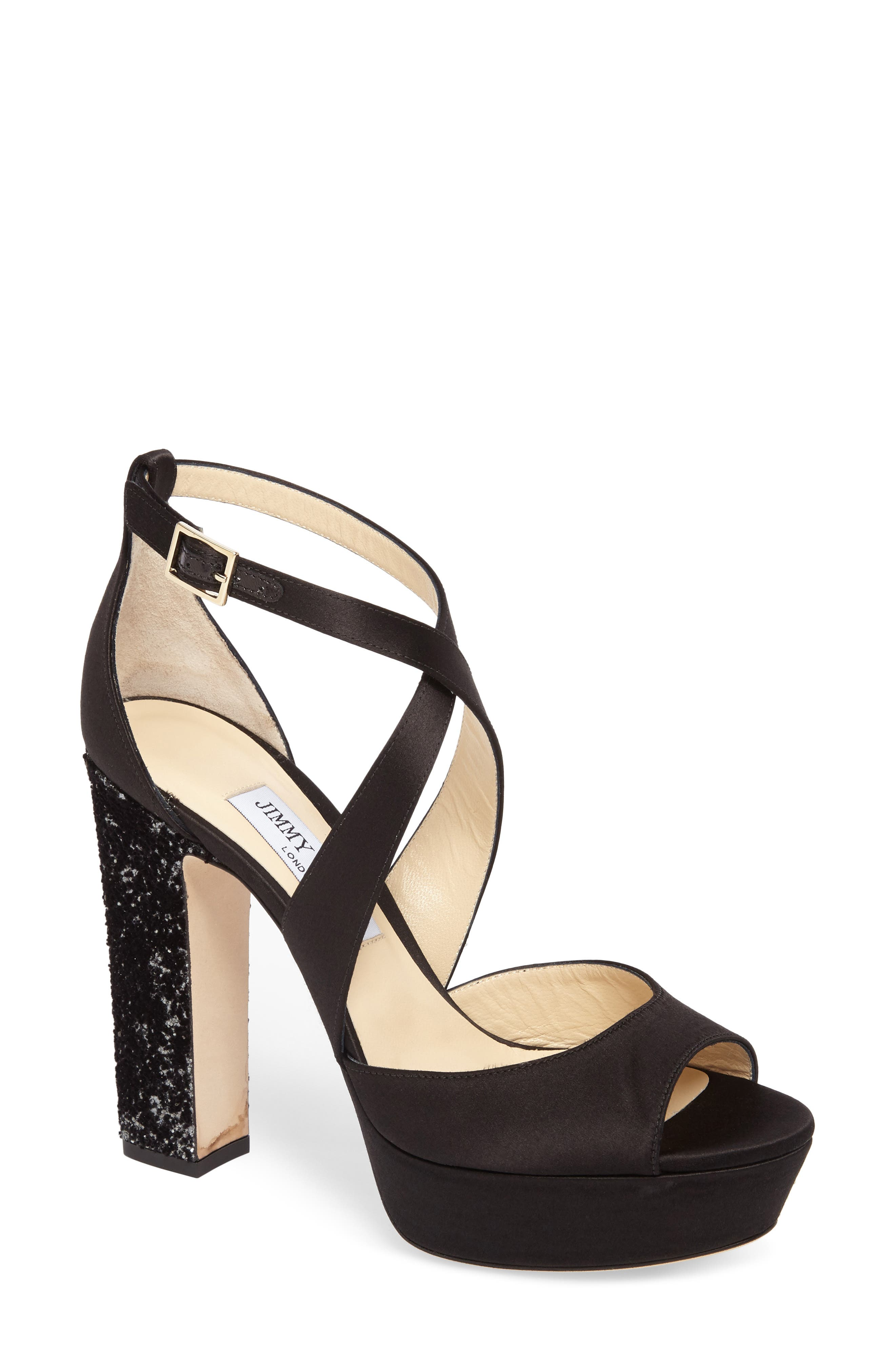 April Platform Sandal,                             Main thumbnail 1, color,                             Black/ Anthracite/ Black