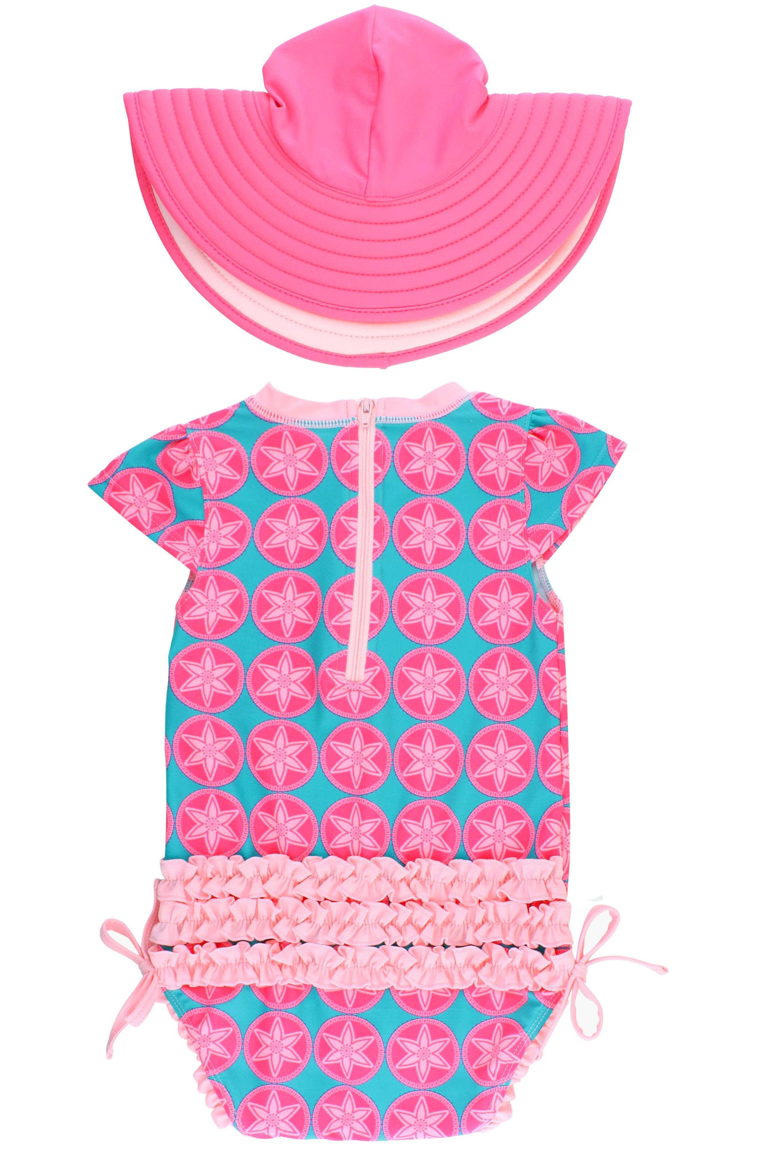 Alternate Image 2  - RuffleButts Salt Water Taffy One-Piece Swimsuit & Hat Set (Baby Girls)