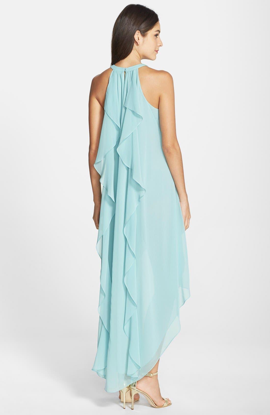 Alternate Image 2  - BCBGMAXAZRIA 'Kelsia' Ruffle Georgette Trapeze Dress