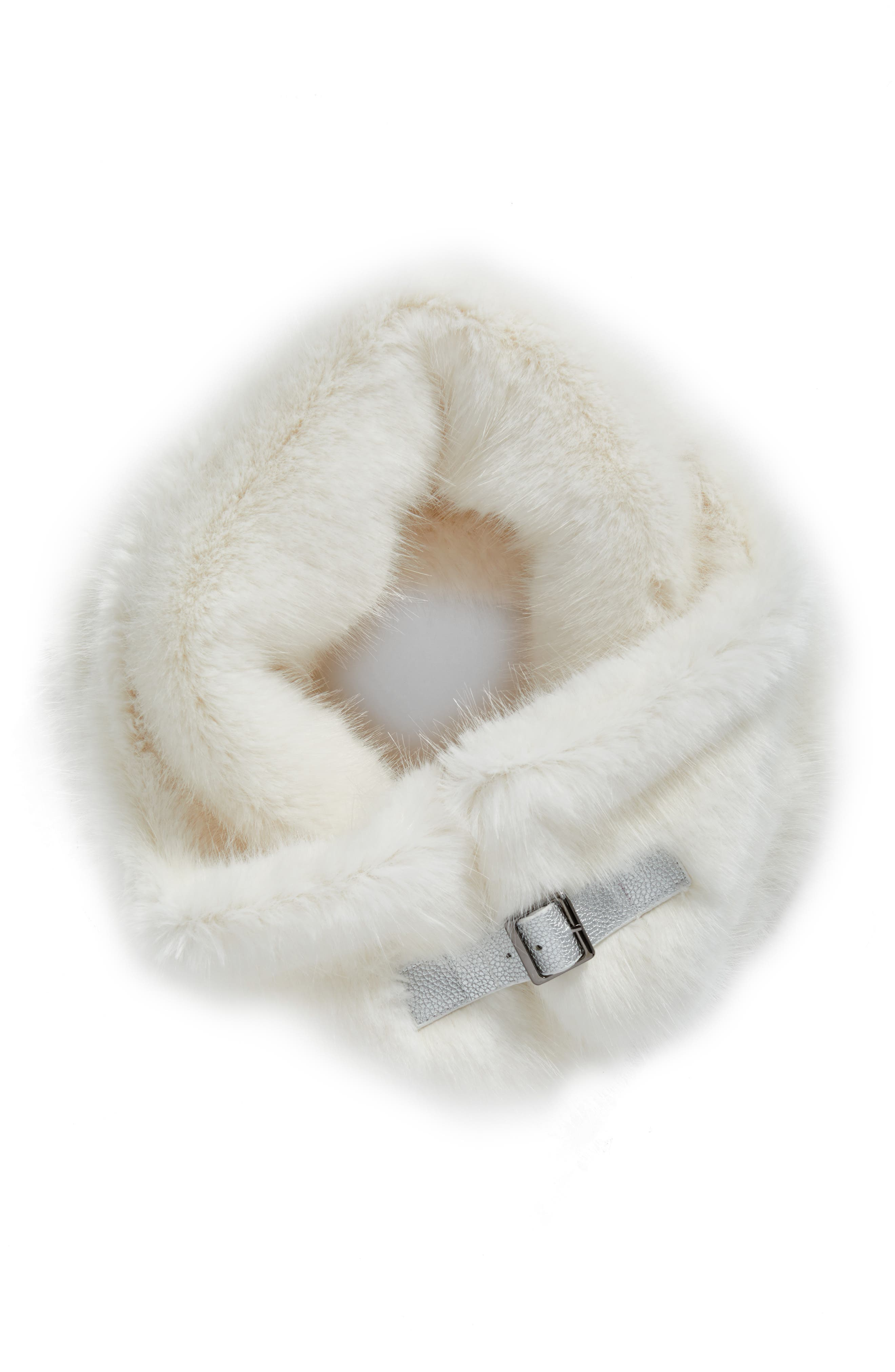 Buckled Faux Fur Cowl Scarf,                             Alternate thumbnail 3, color,                             White Mink