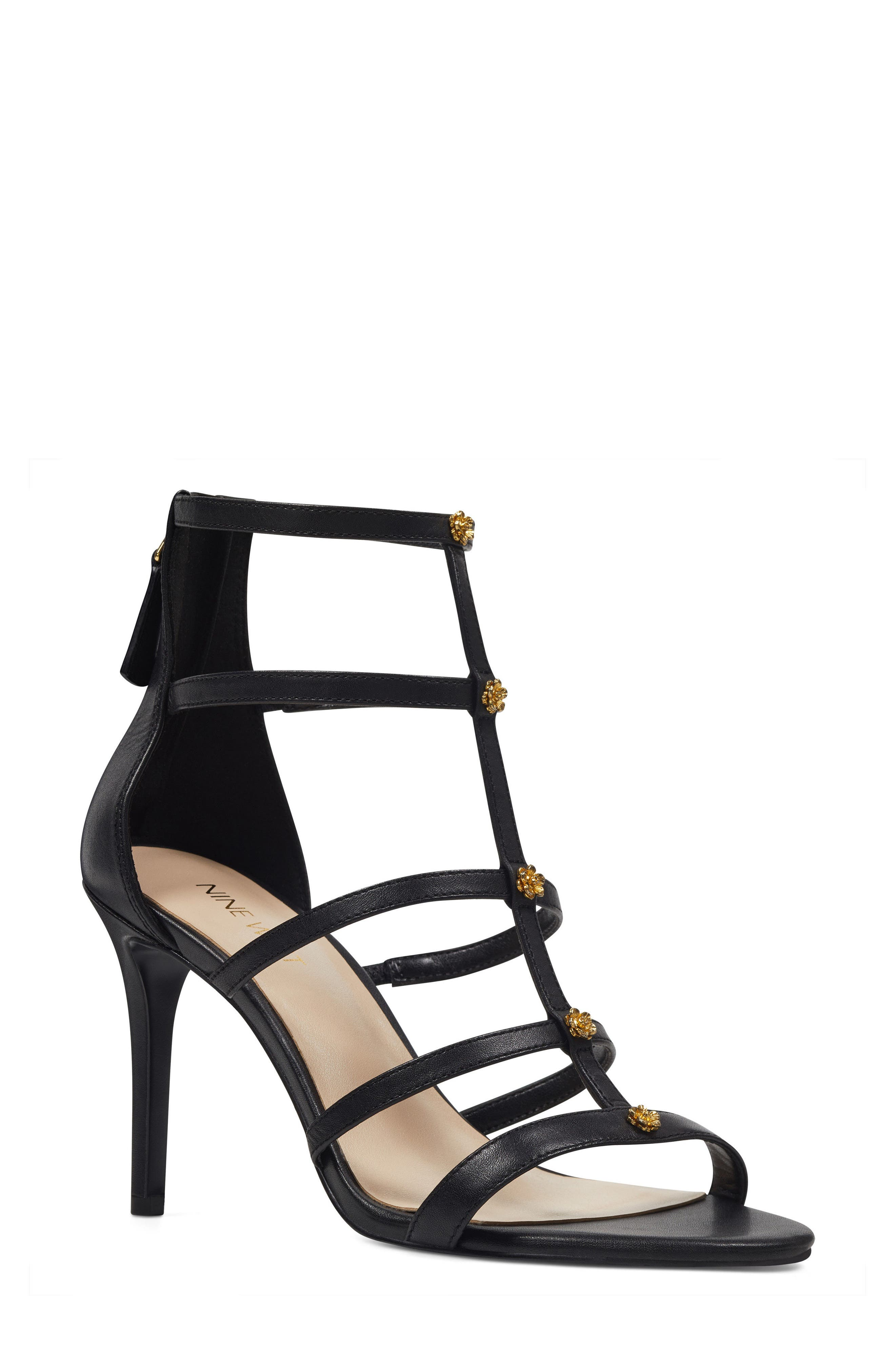 Nayler Strappy Sandal,                             Main thumbnail 1, color,                             Black Leather
