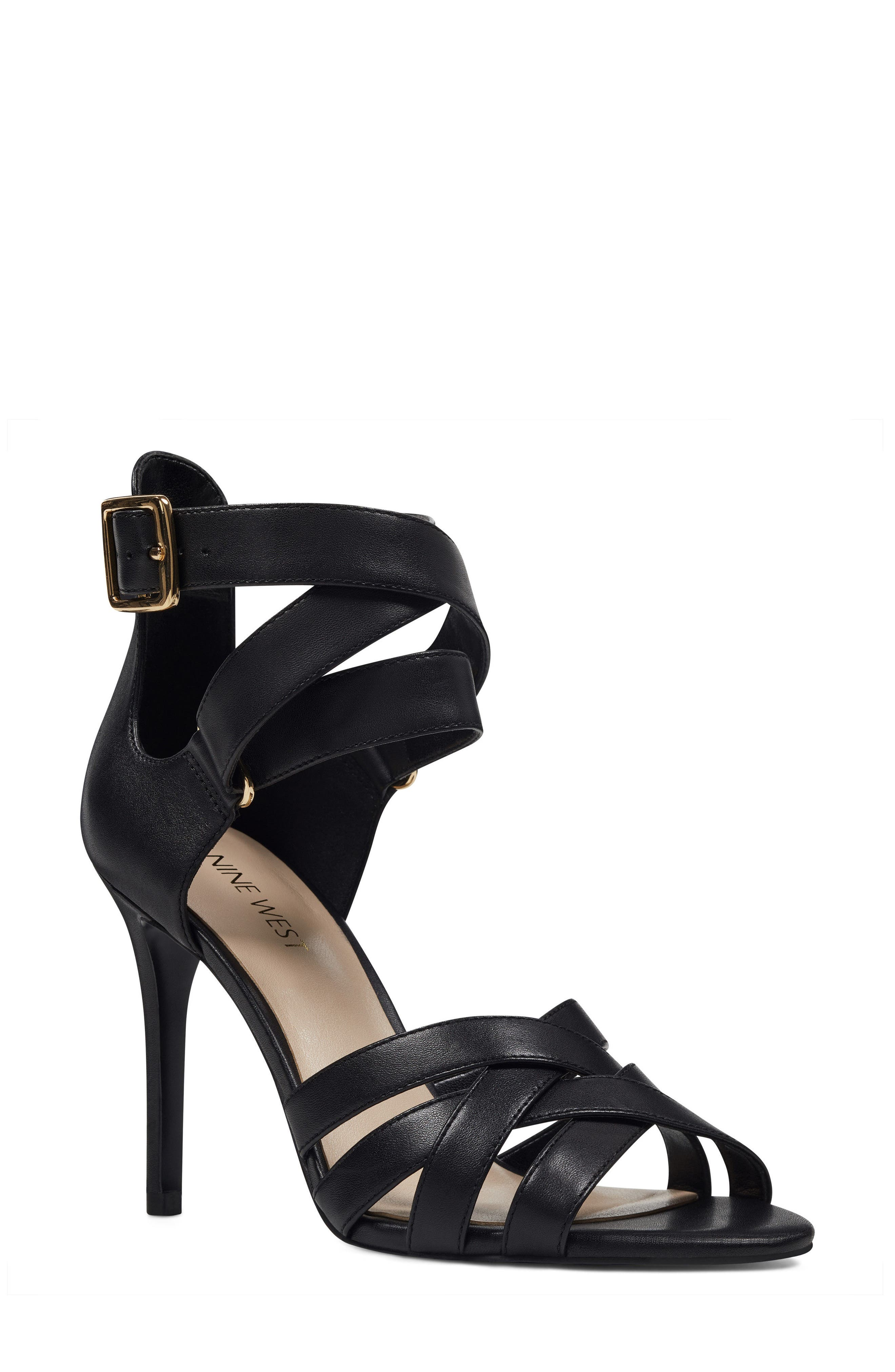 McGlynn Strappy Sandal,                             Main thumbnail 1, color,                             Black Leather