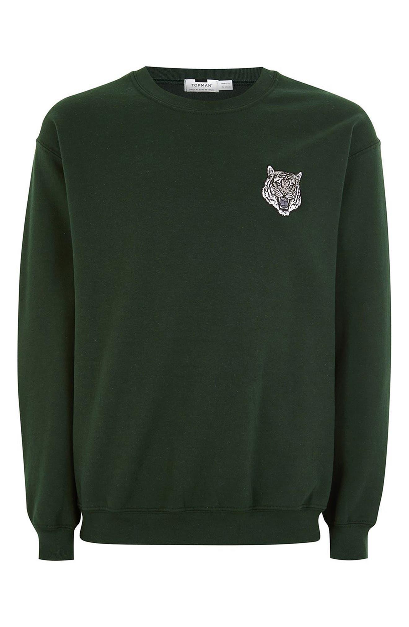 Tiger Patch Sweatshirt,                             Alternate thumbnail 4, color,                             Olive