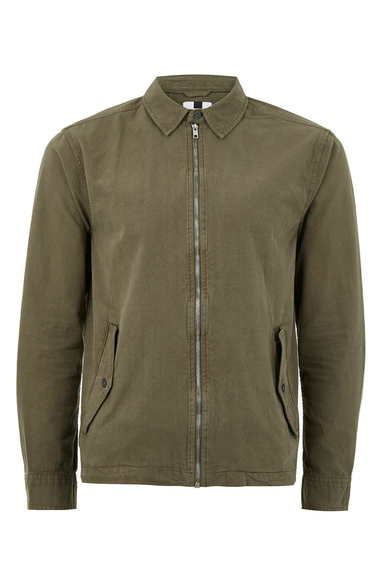 Zip Front Shirt Jacket,                             Alternate thumbnail 4, color,                             Olive