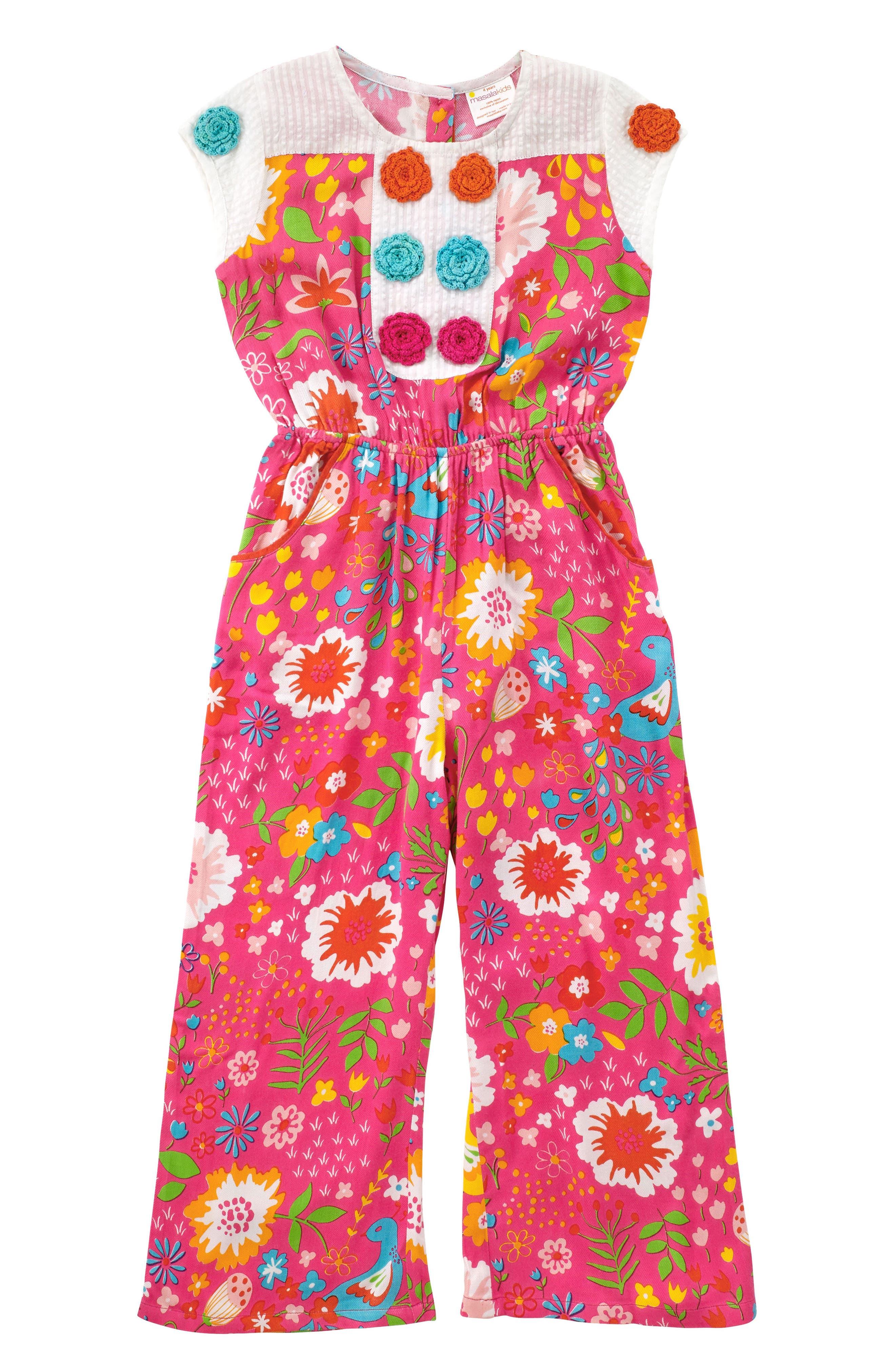 Nicobar English Garden Print Jumpsuit,                         Main,                         color, Pink