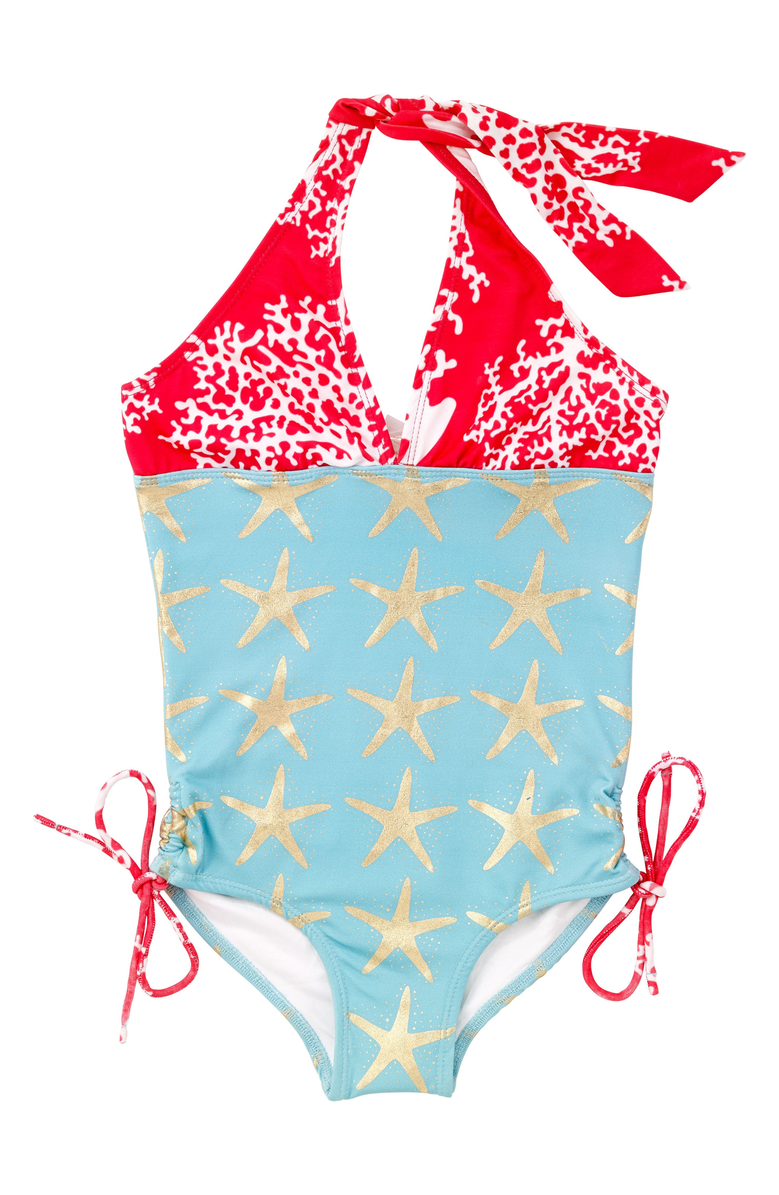 One-Piece Halter Swimsuit,                         Main,                         color, Turquoise
