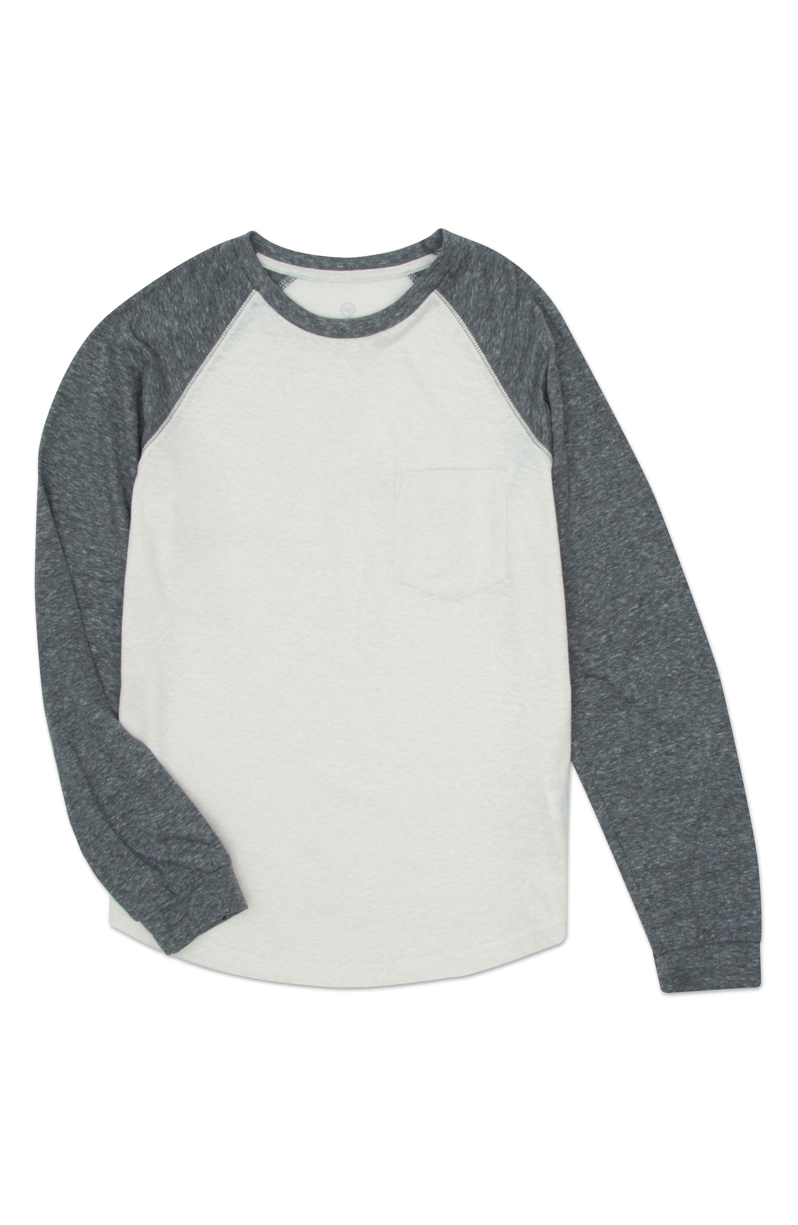 Raglan Baseball T-Shirt,                         Main,                         color, Heather White