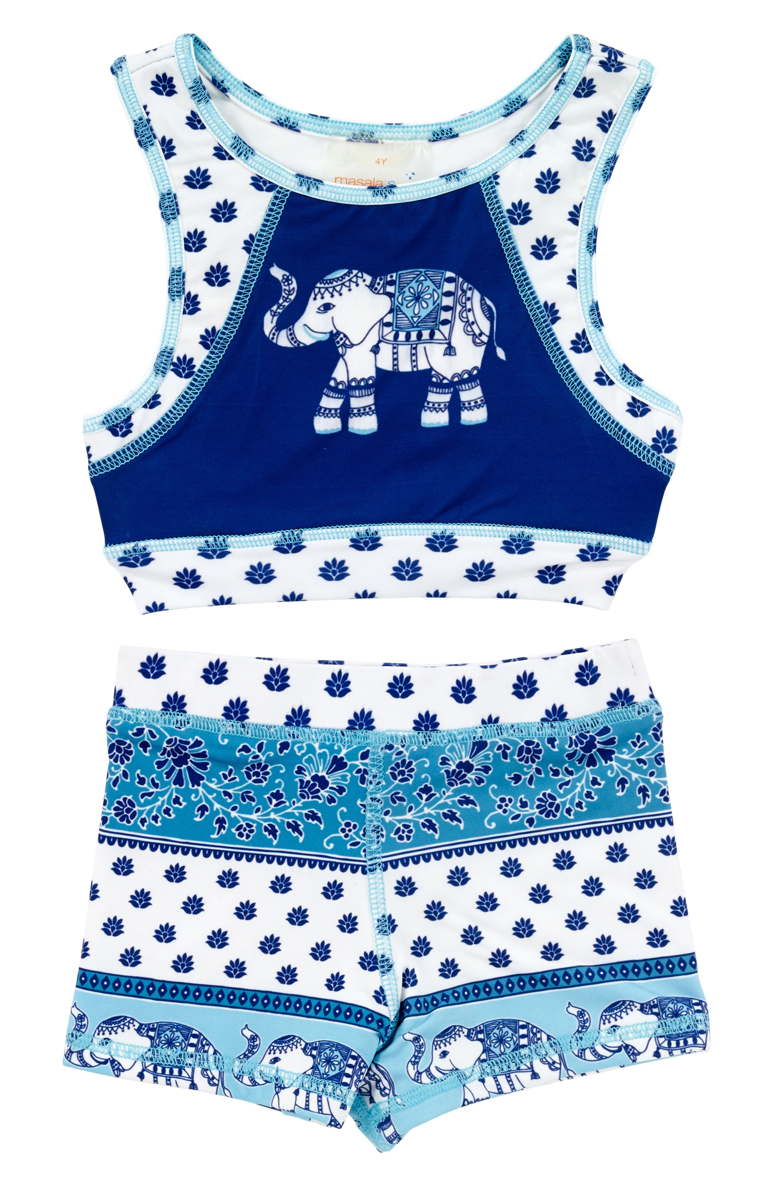 Alternate Image 1 Selected - Masasla Baby Two-Piece Racerback Swimsuit (Toddler Girls)