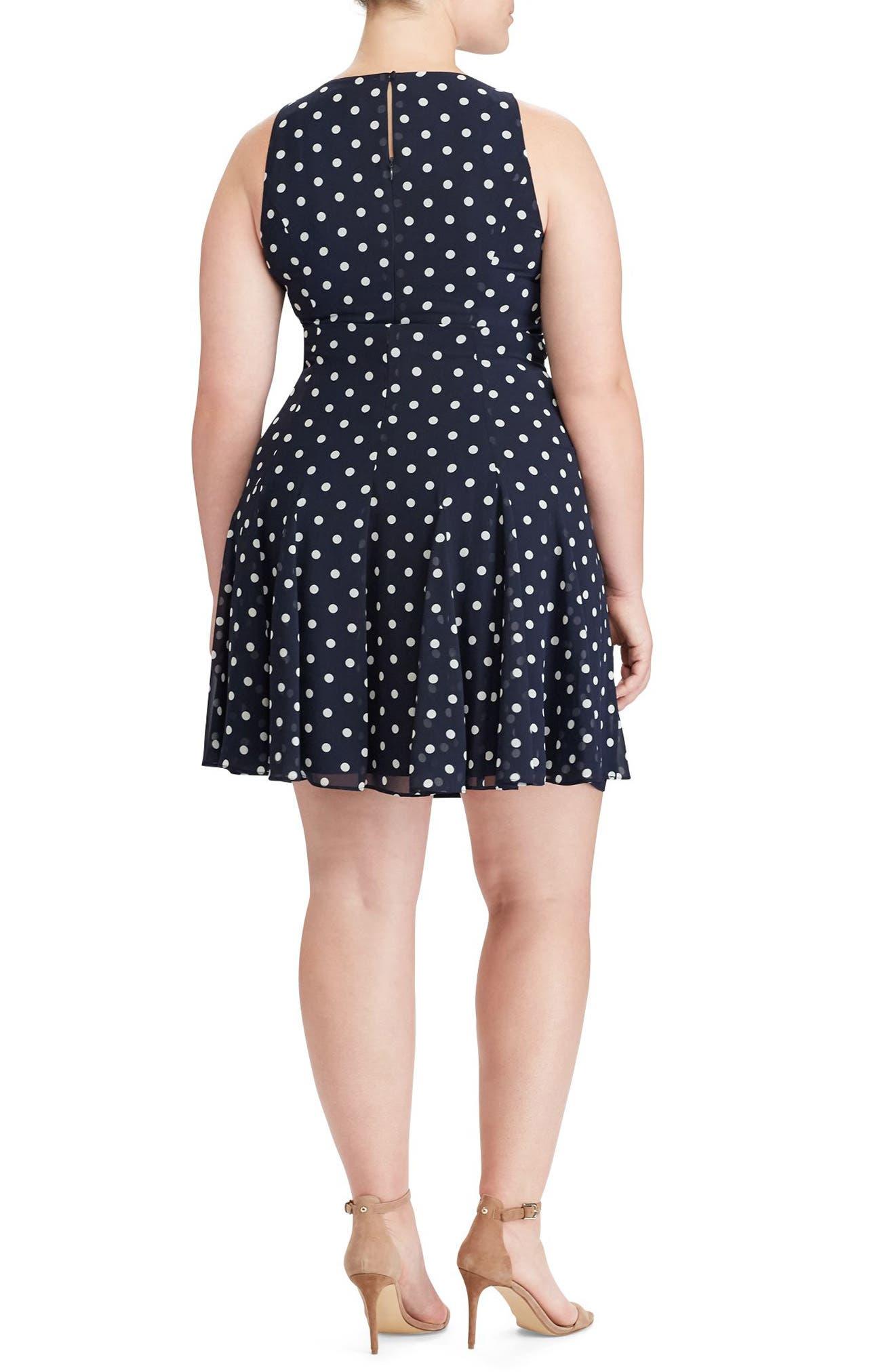 Alternate Image 2  - Lauren Ralph Lauren Polka Dot Georgette Dress (Plus Size)