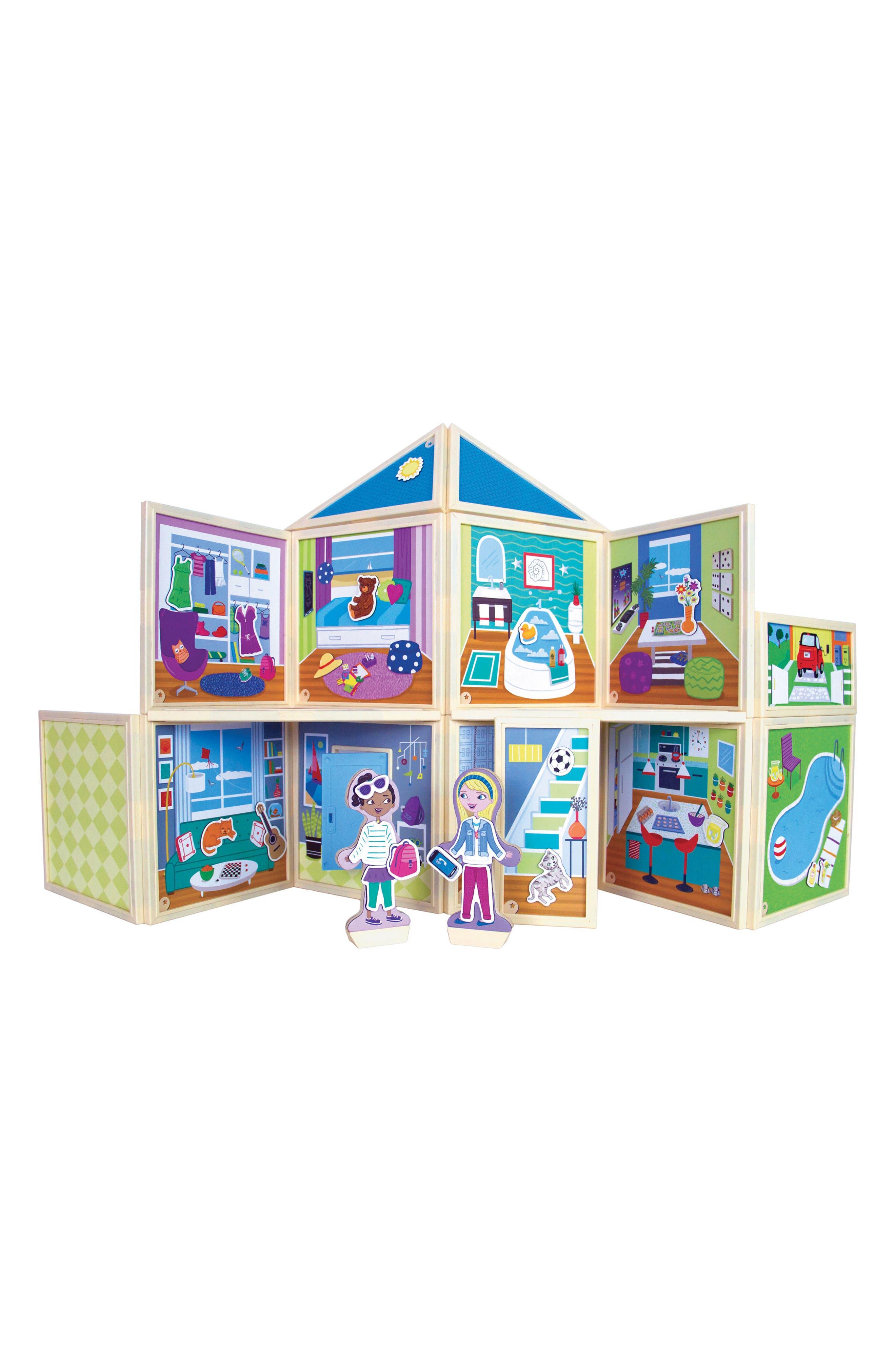 Build and Imagine Malia's House 61-Piece Magnetic Dollhouse,                         Main,                         color, Blue