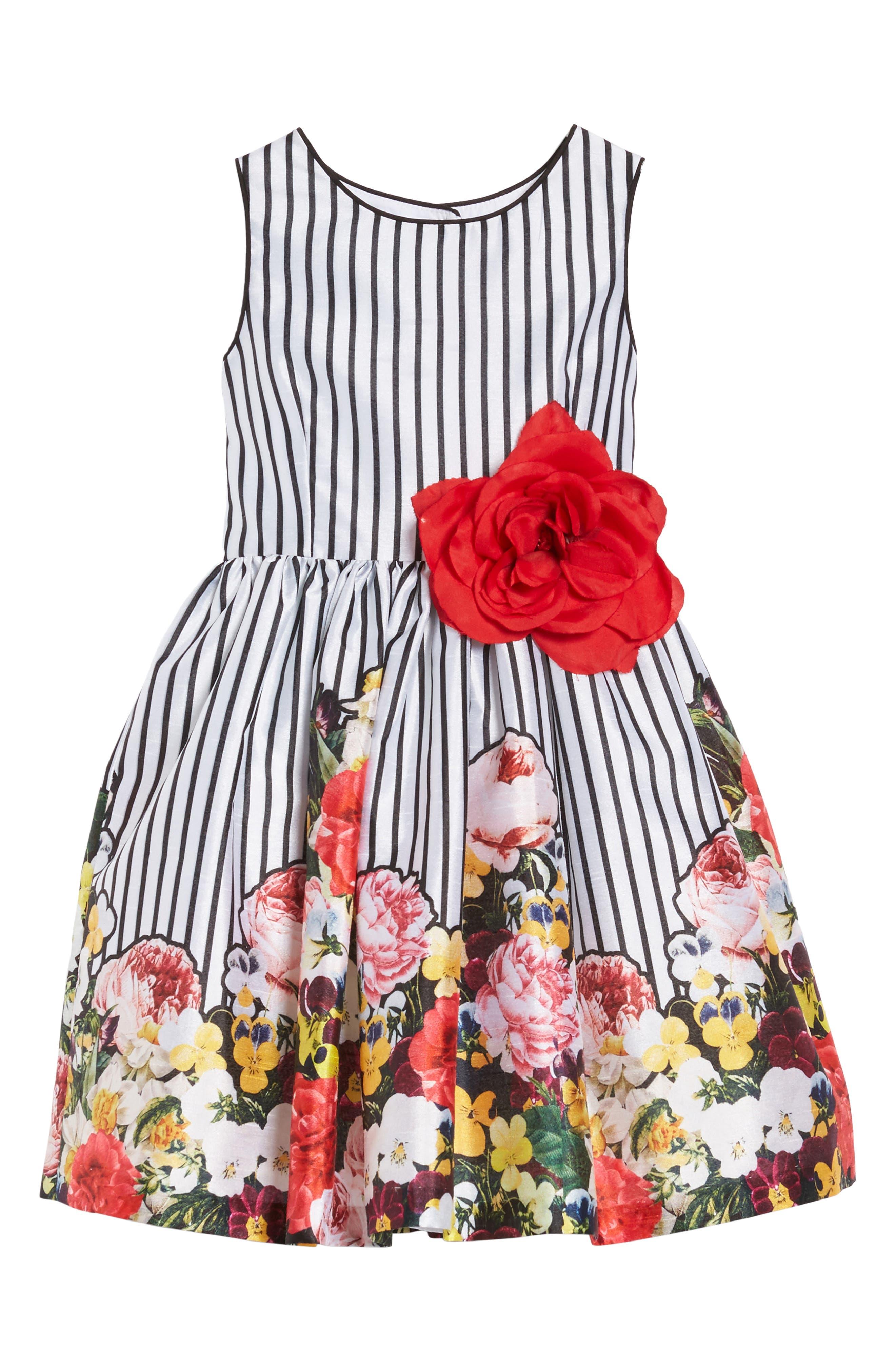 Pippa & Julie Stripe Floral Dress (Toddler Girls, Little Girls & Big Girls)