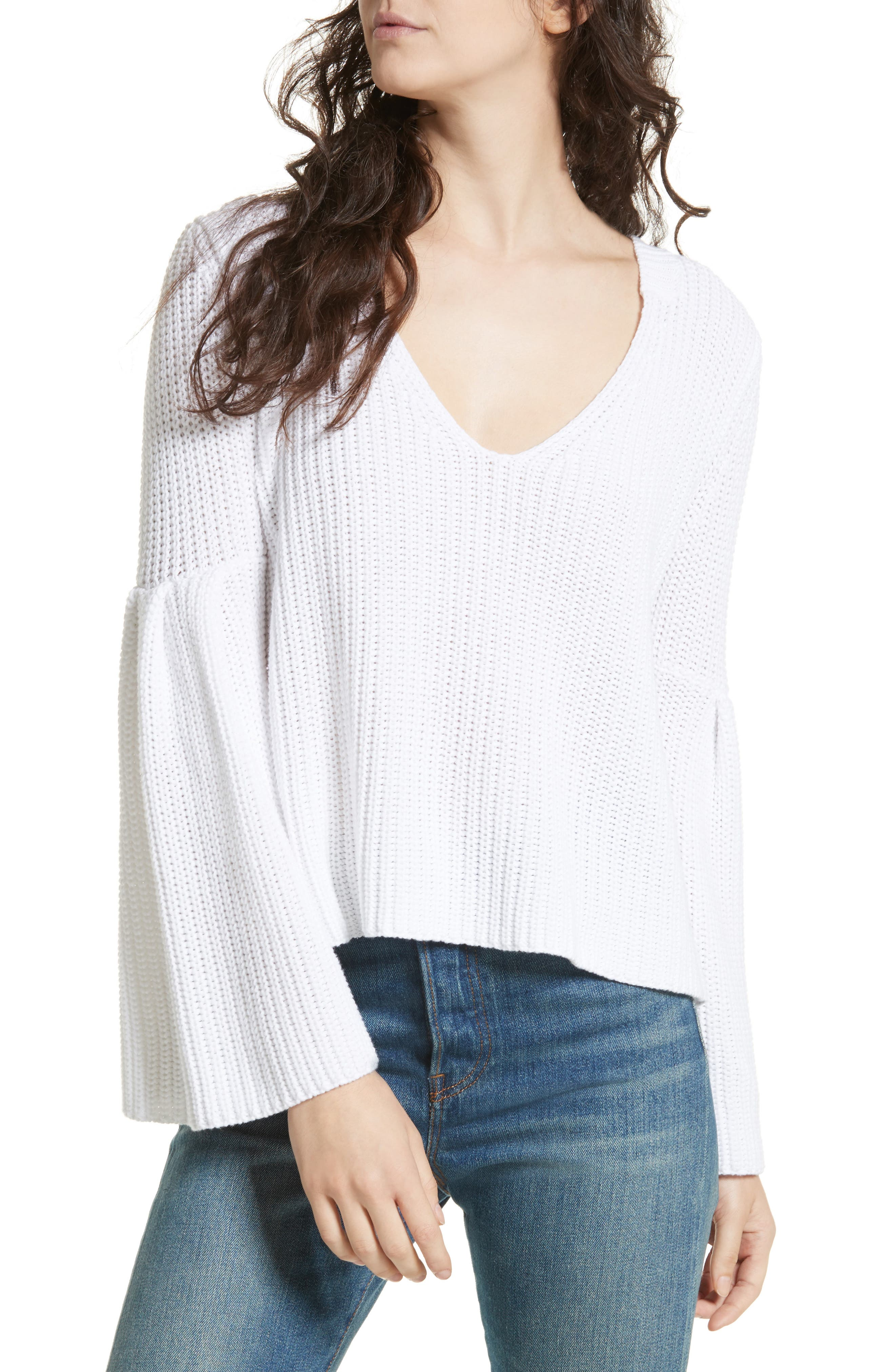 Damsel Bell Sleeve Pullover,                             Main thumbnail 1, color,                             White