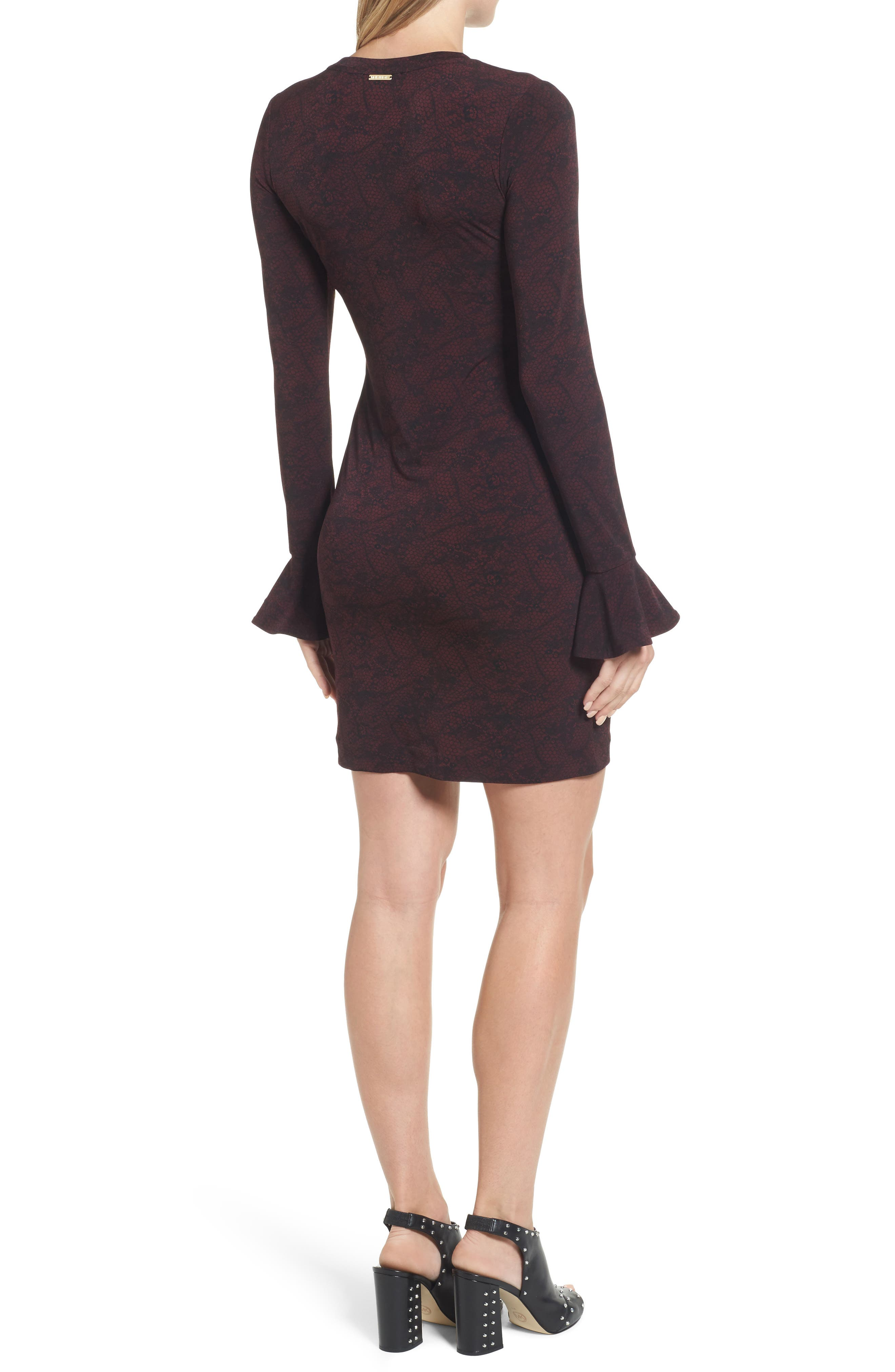 Floral Mesh Dress,                             Alternate thumbnail 2, color,                             Merlot/Black