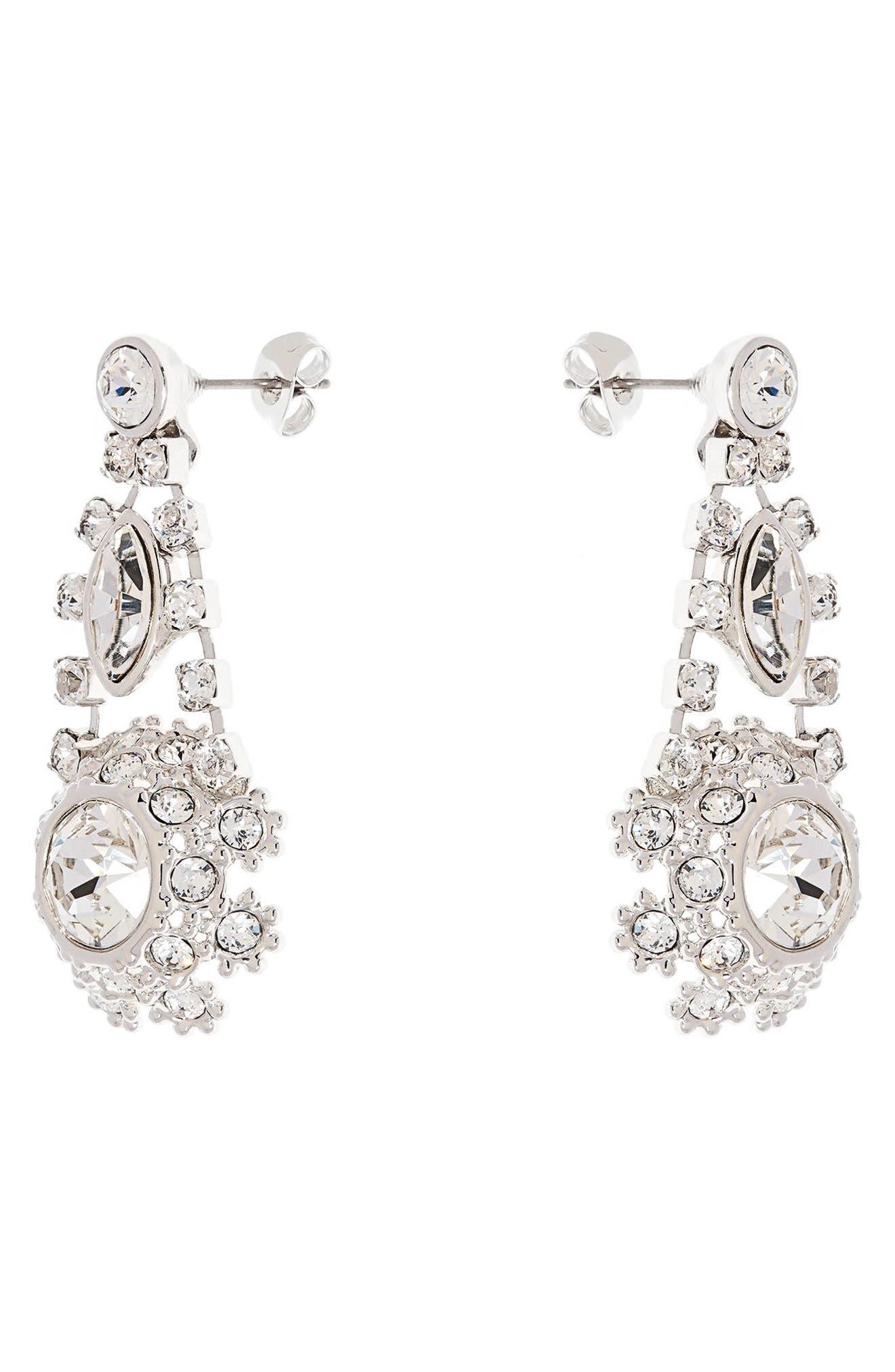Crystal Daisy Lace Drop Earrings,                             Alternate thumbnail 2, color,                             Clear