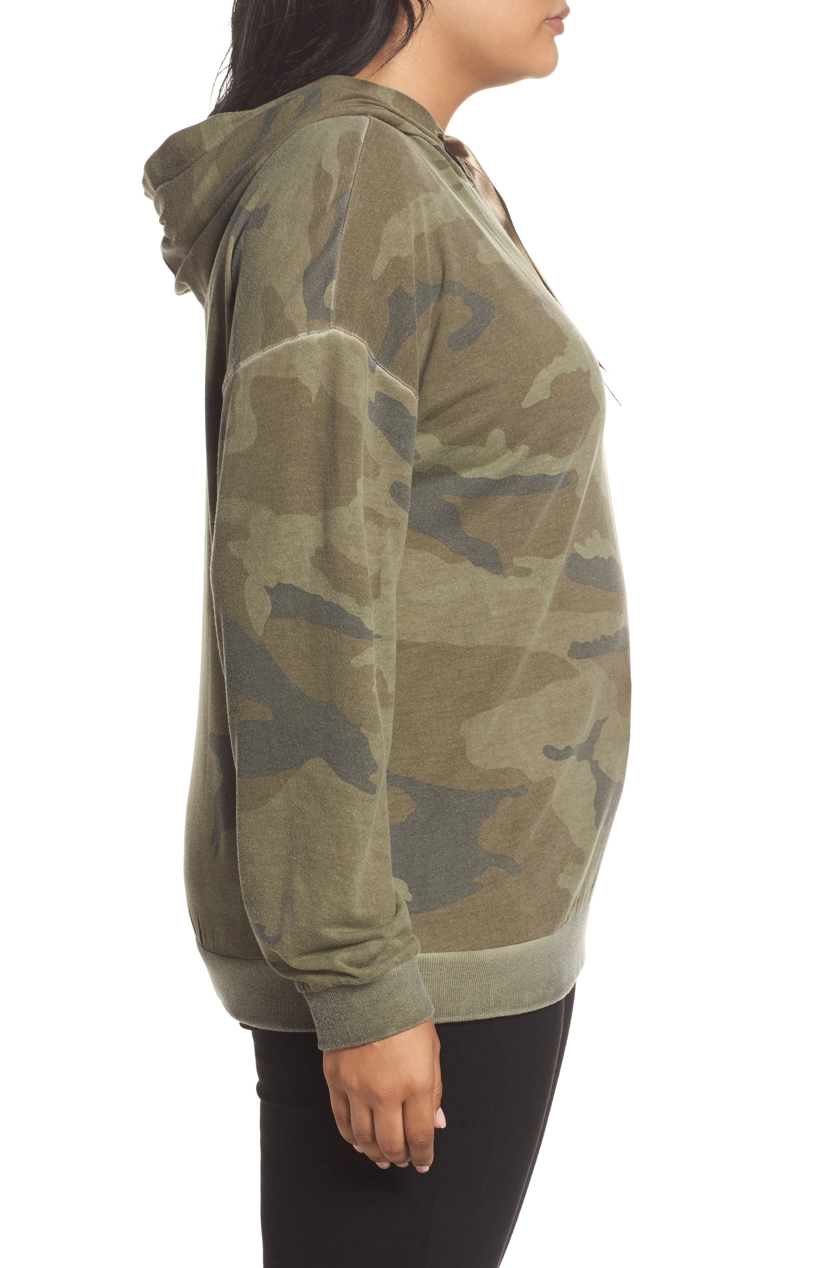 Camo Print Hoodie,                             Alternate thumbnail 3, color,                             Military Olive