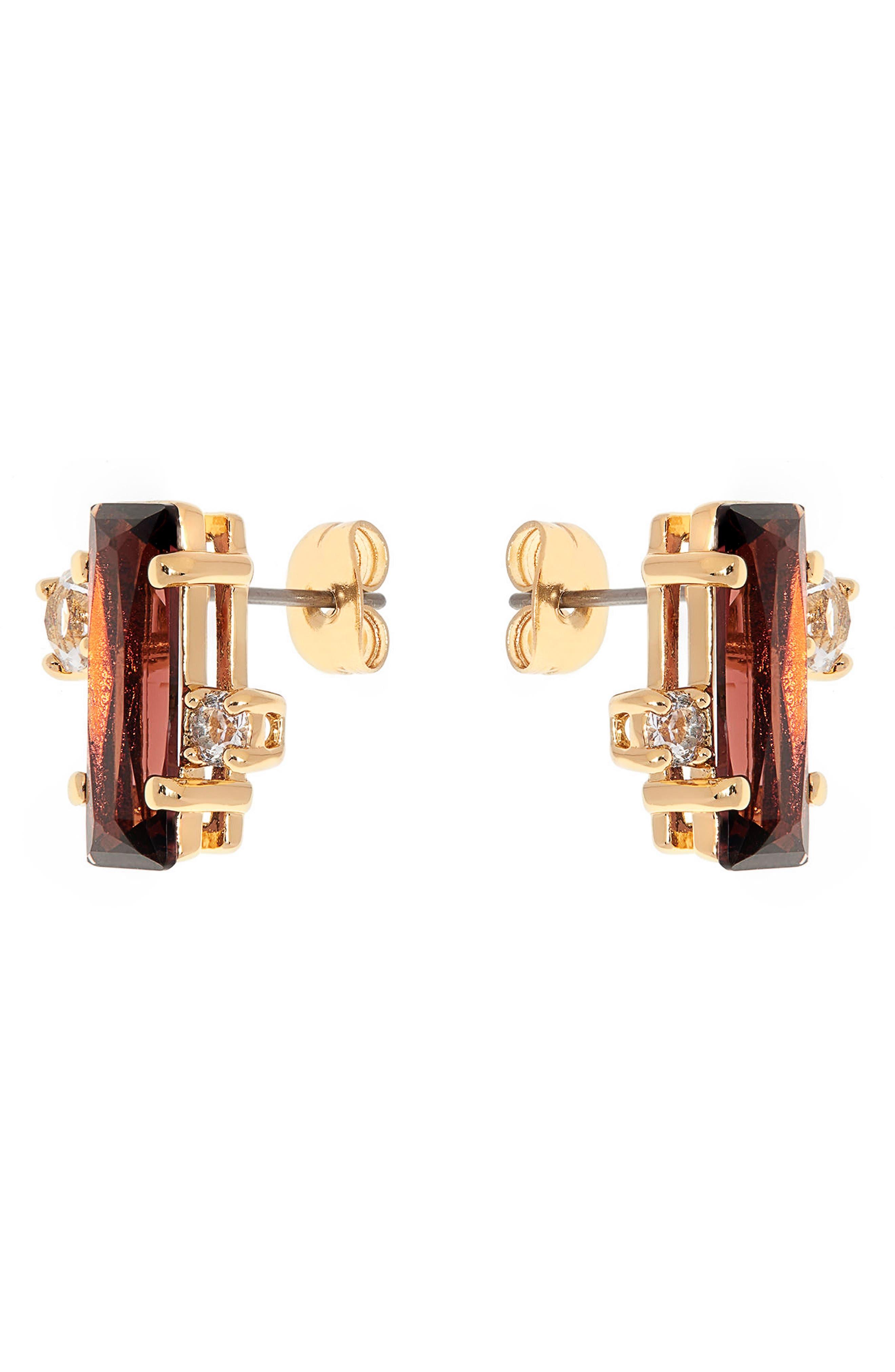 Bria Baguette Cluster Earrings,                             Alternate thumbnail 2, color,                             Oxblood