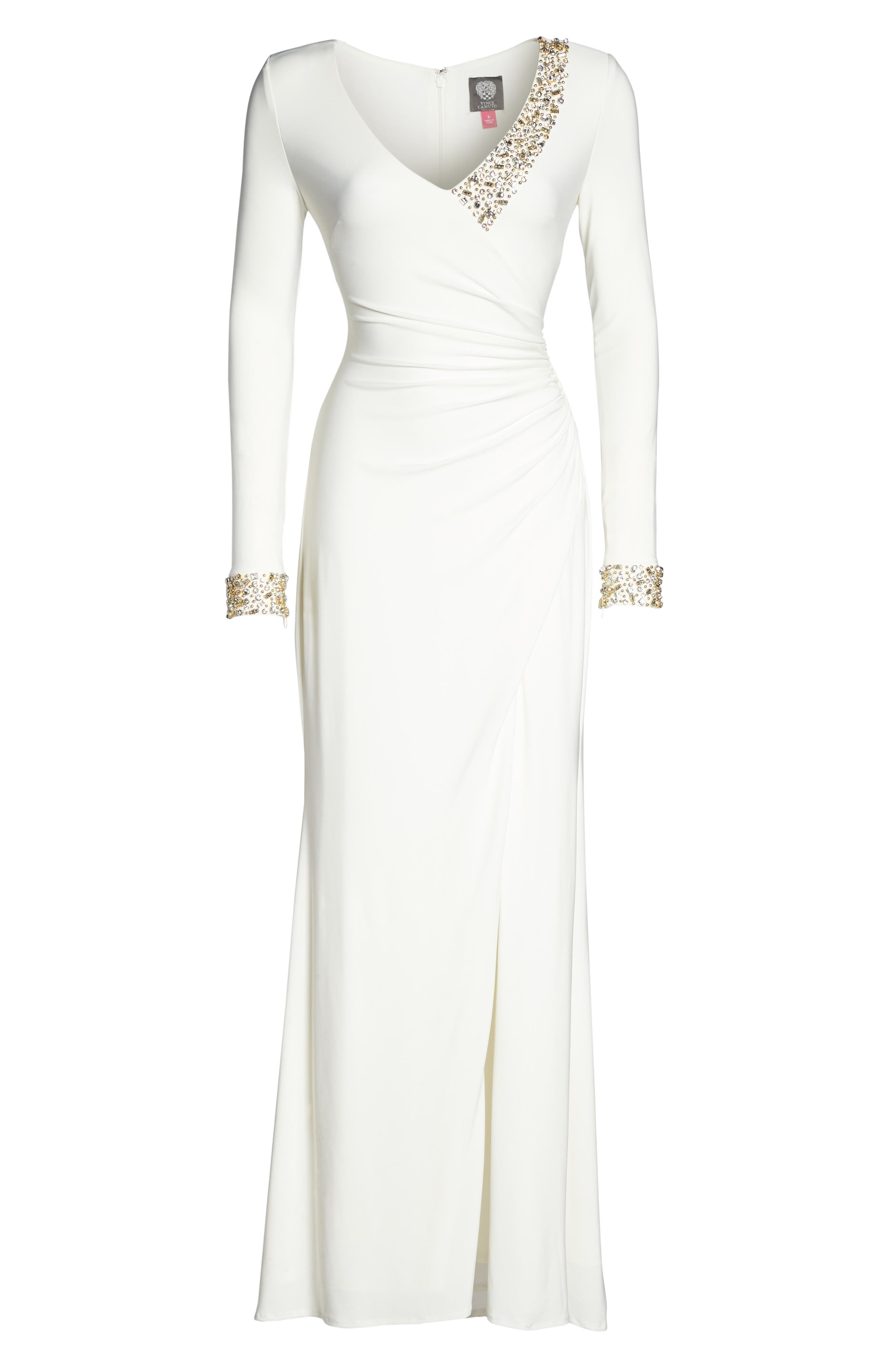 Embellished Side Tuck Jersey Gown,                             Alternate thumbnail 6, color,                             Ivory