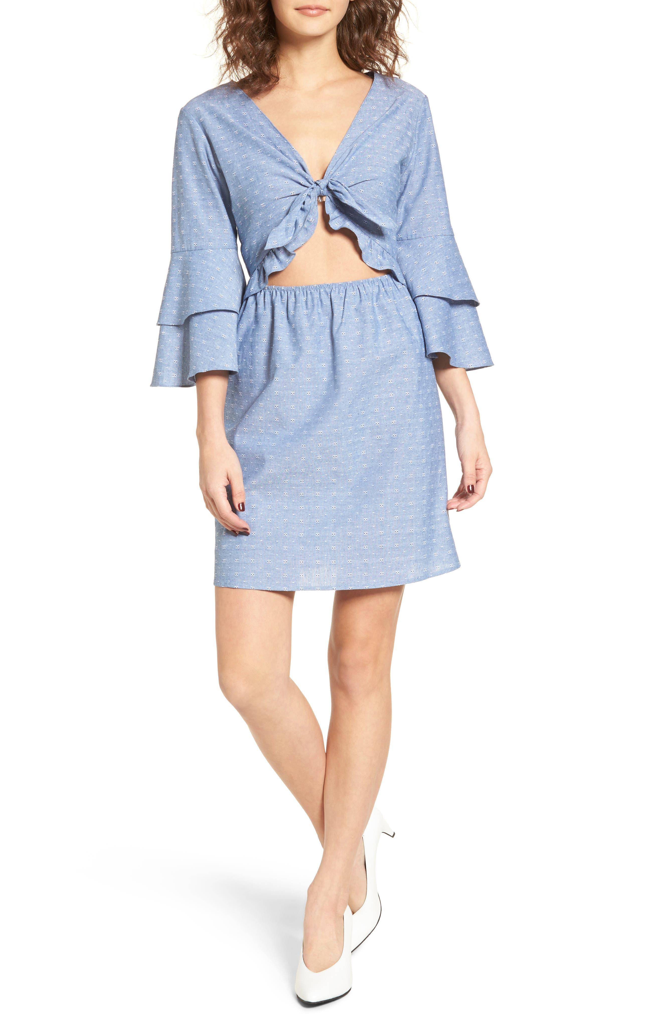 Cutout Tiered Sleeve Dress,                         Main,                         color, Blue