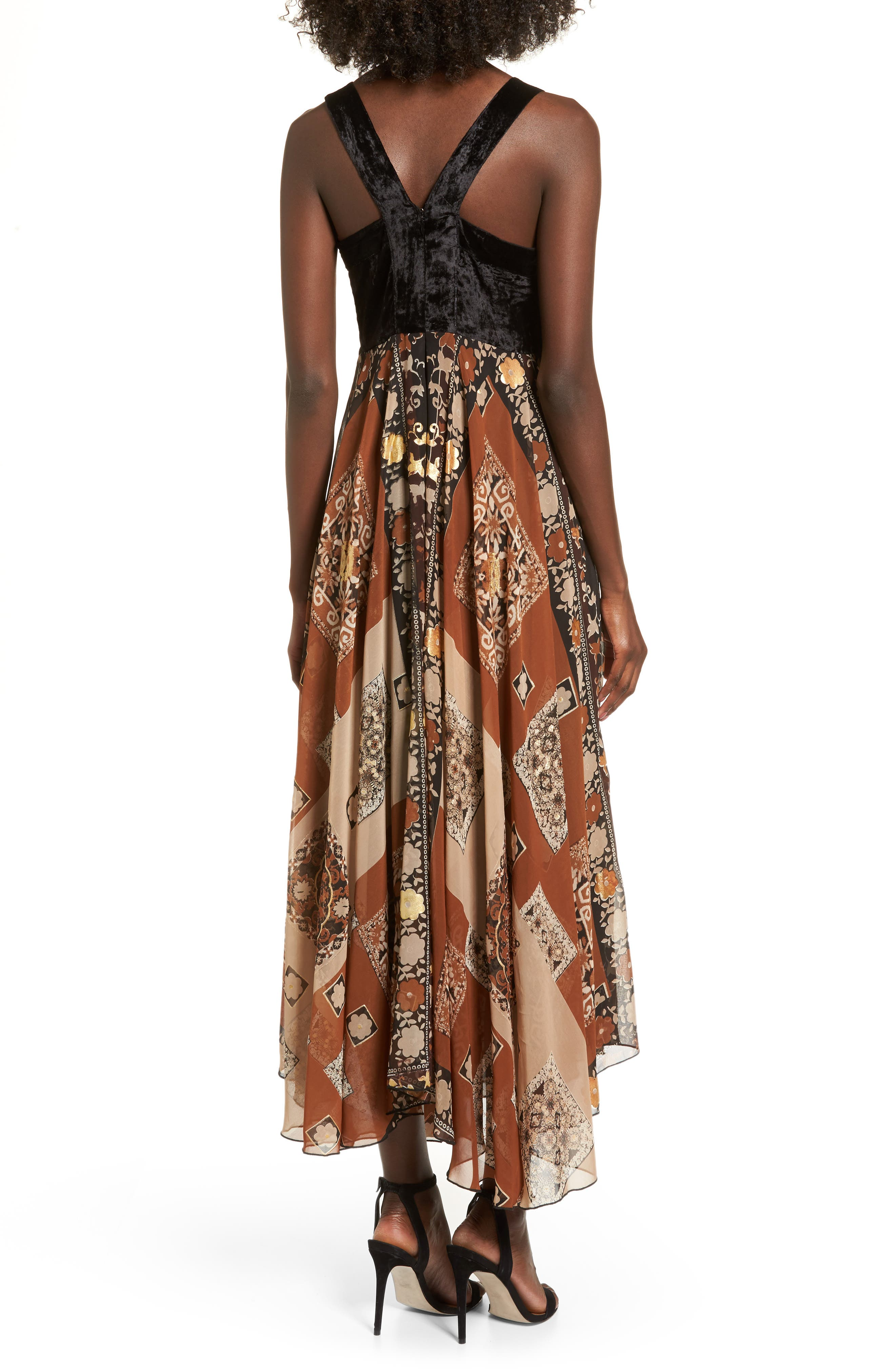 Sonder Embroidered Maxi Dress,                             Alternate thumbnail 3, color,                             Brown