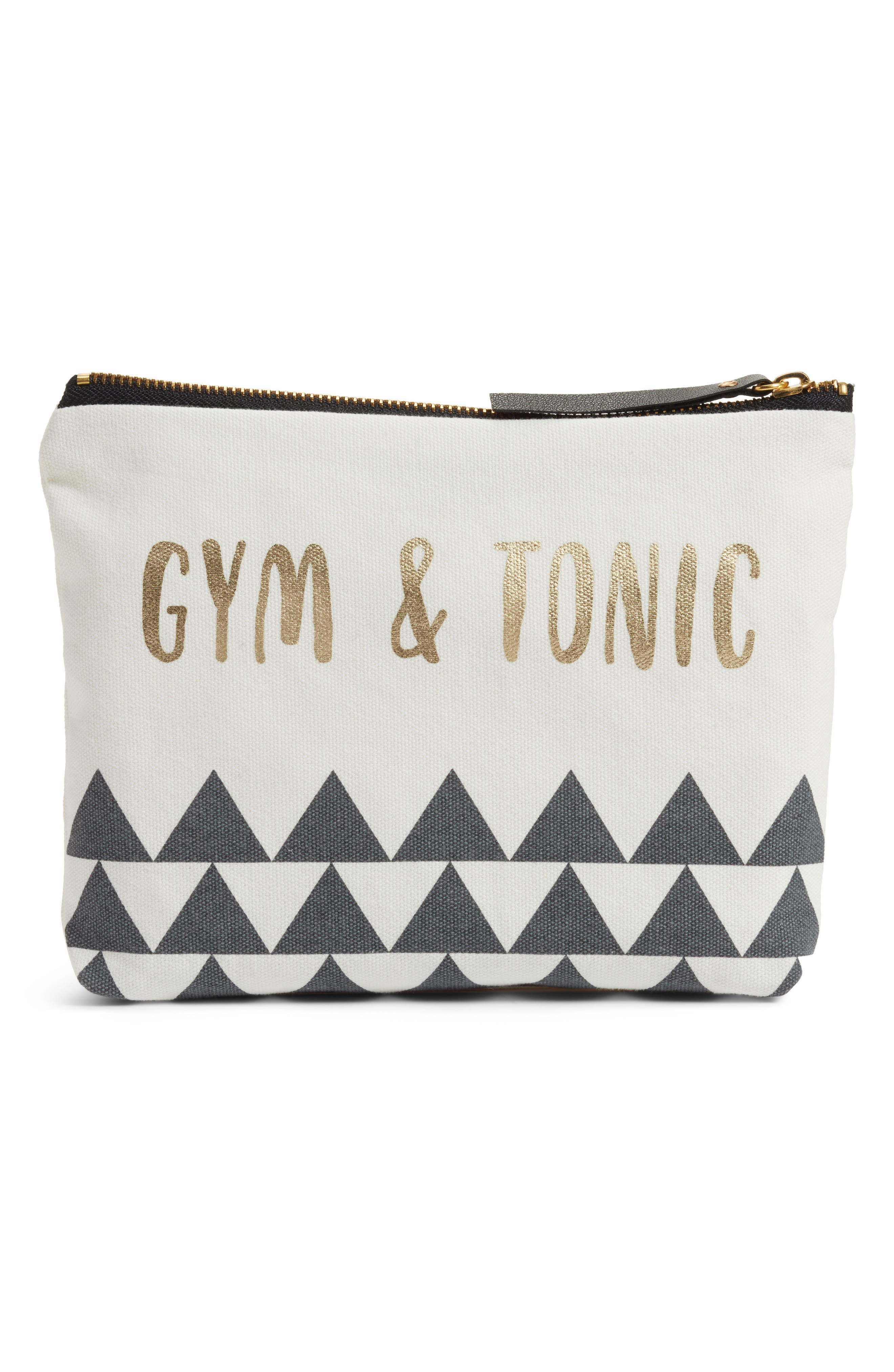 Gym & Tonic Zip Pouch,                         Main,                         color, White