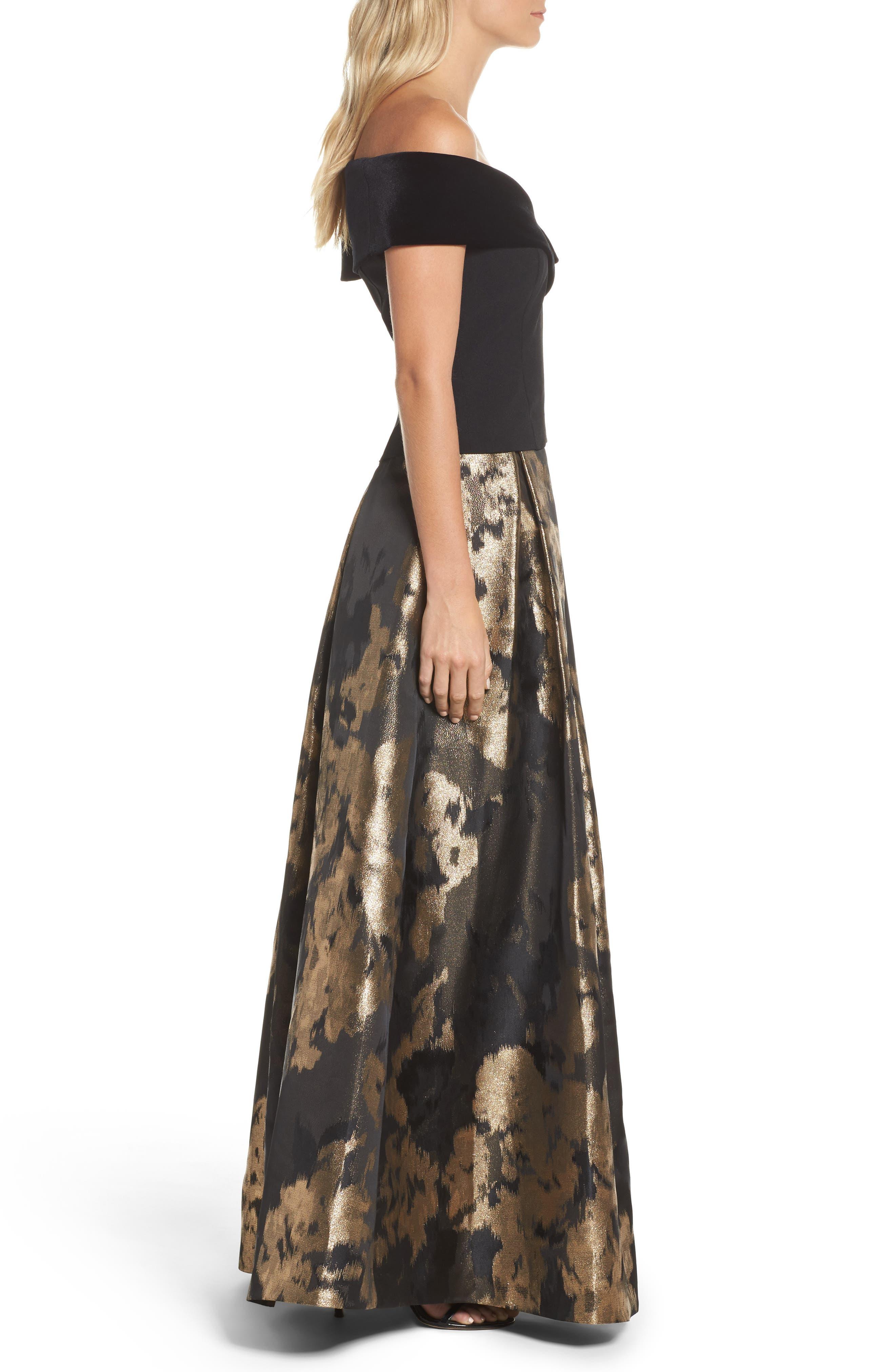 Alternate Image 3  - Eliza J Metallic Jacquard Ball Skirt