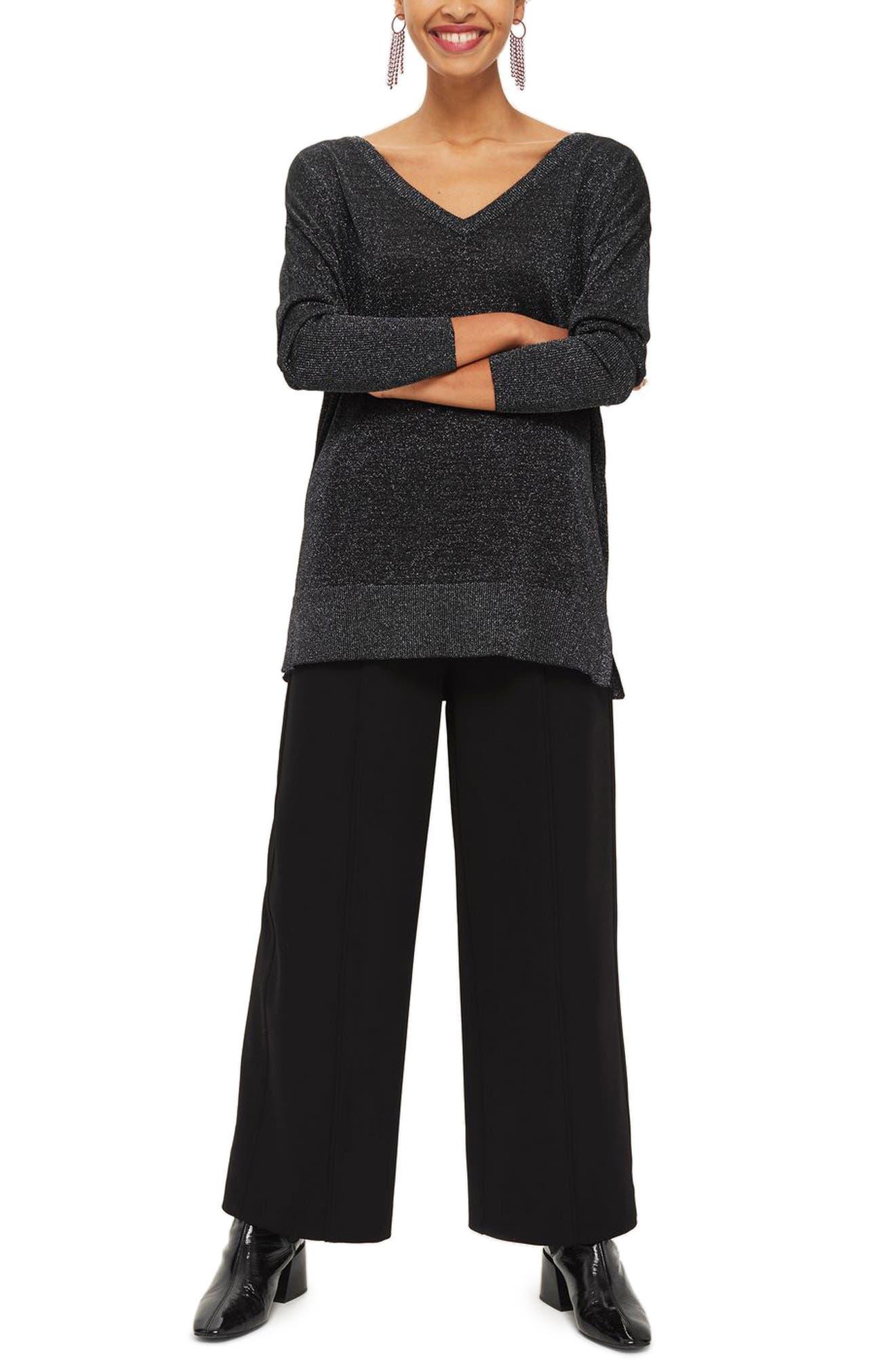 Cross Back Longline Metallic Sweater,                             Main thumbnail 1, color,                             Black