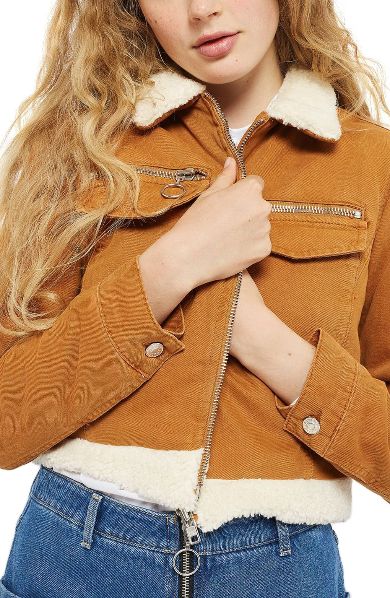 Borg Trim Crop Denim Jacket,                         Main,                         color, Tan