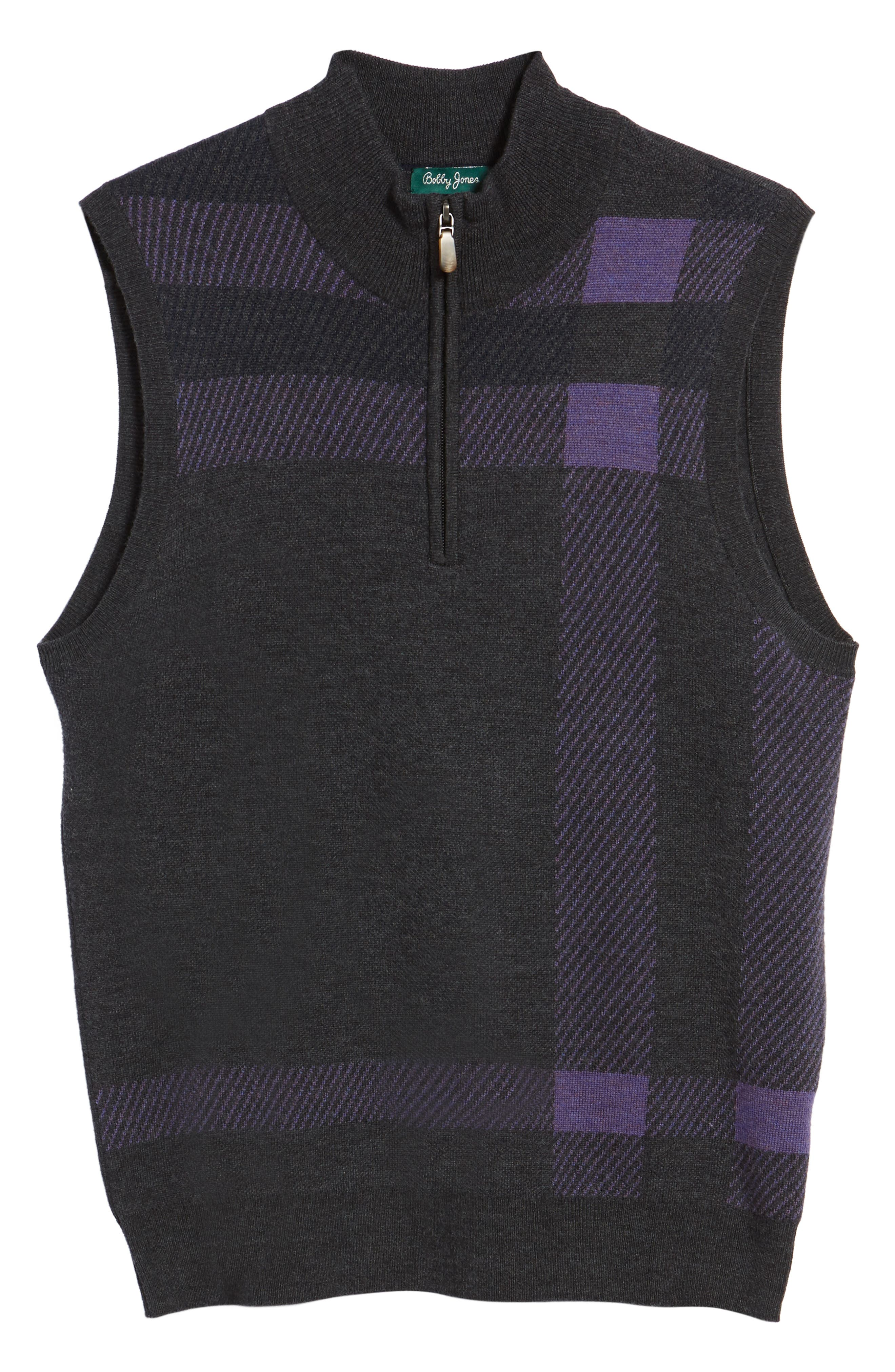 Oversize Plaid Wool Vest,                             Alternate thumbnail 6, color,                             Heather Grey