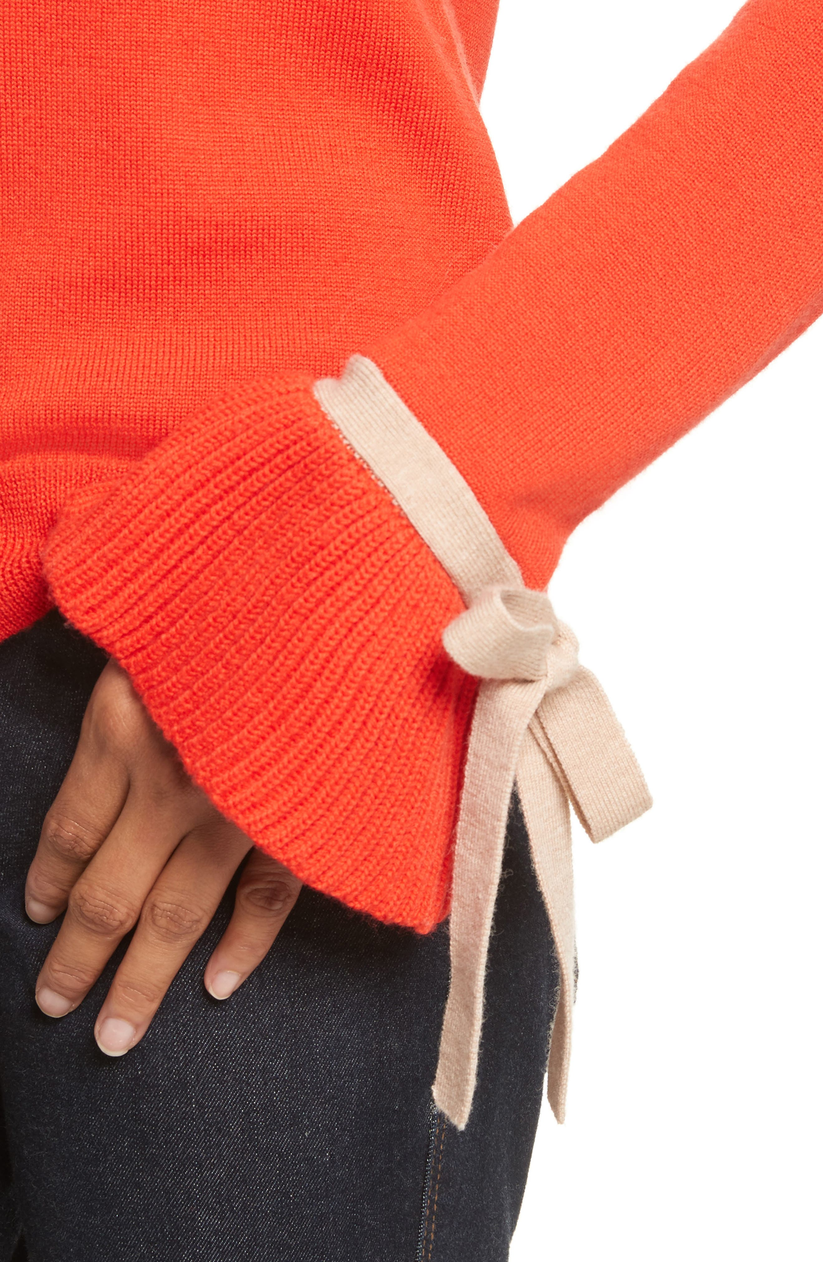 Saeta Tie Cuff Sweater,                             Alternate thumbnail 4, color,                             Red W/ Camel Tie