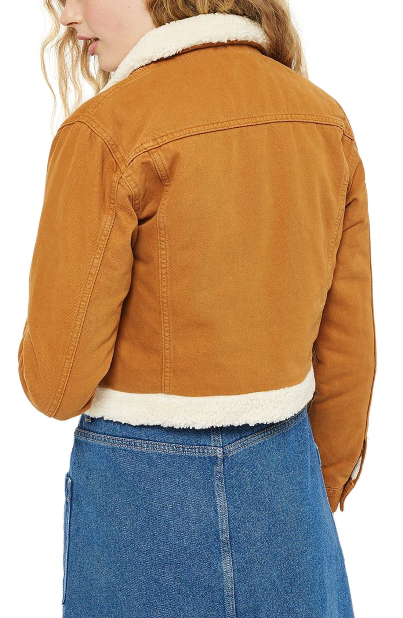 Borg Trim Crop Denim Jacket,                             Alternate thumbnail 3, color,                             Tan