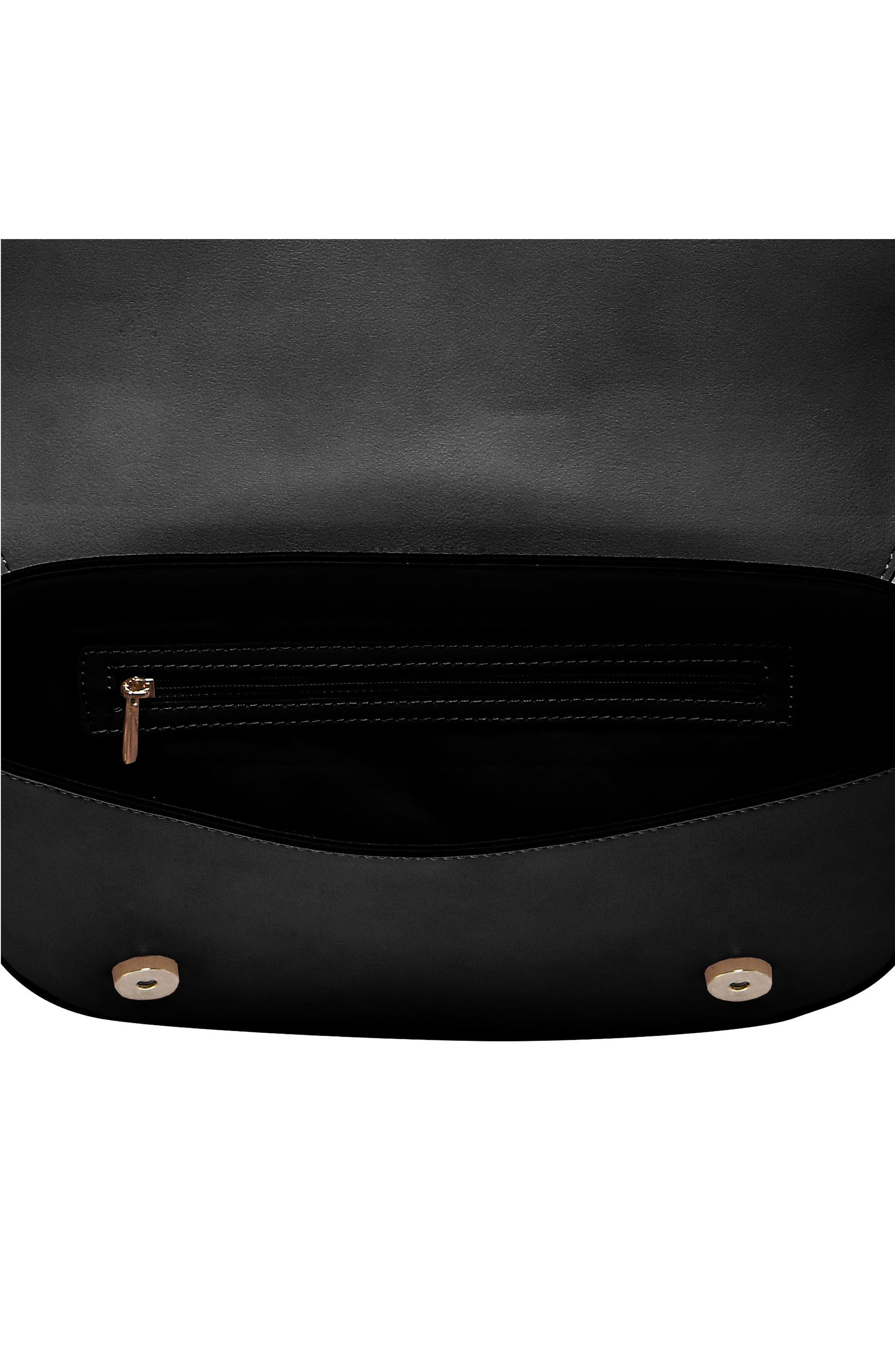 Loved Vegan Leather Crossbody Bag,                             Alternate thumbnail 3, color,                             Black