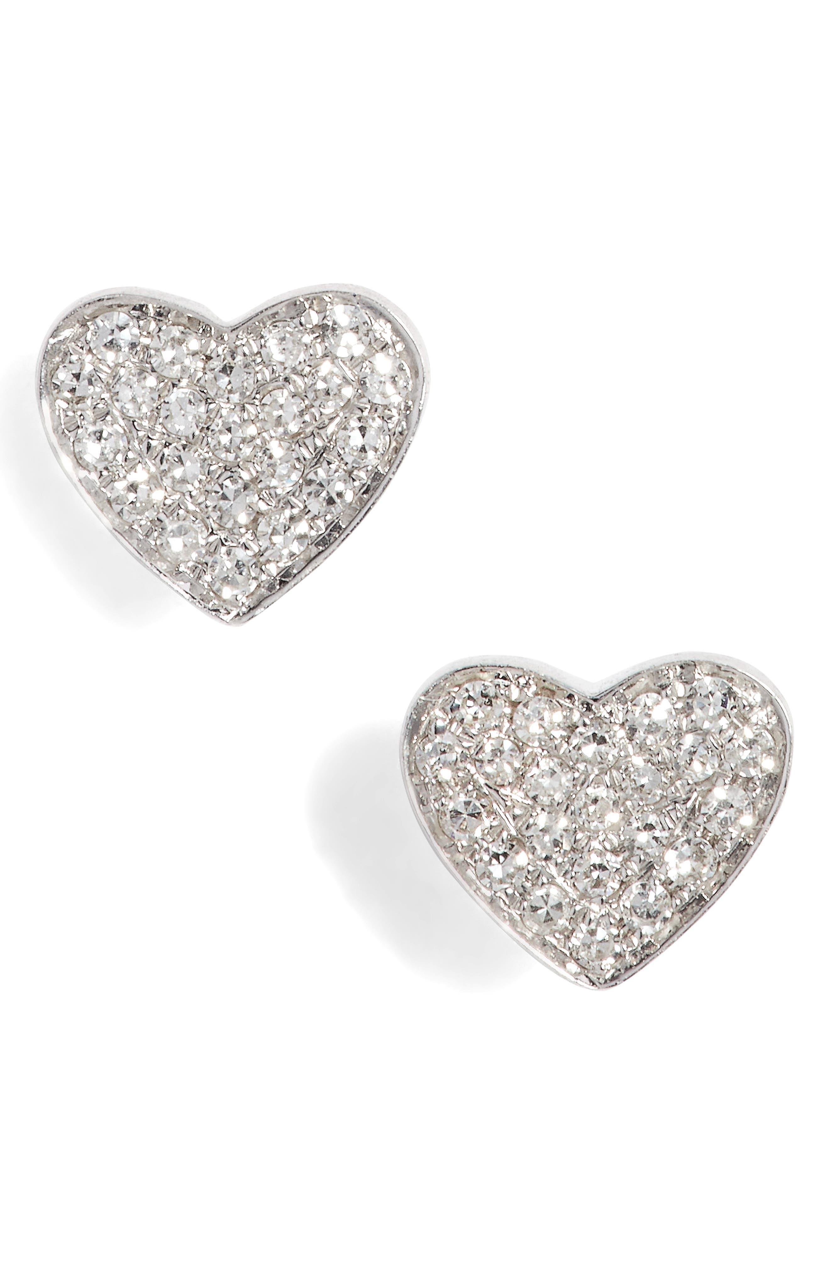 Diamond Heart Stud Earrings,                         Main,                         color, White Gold