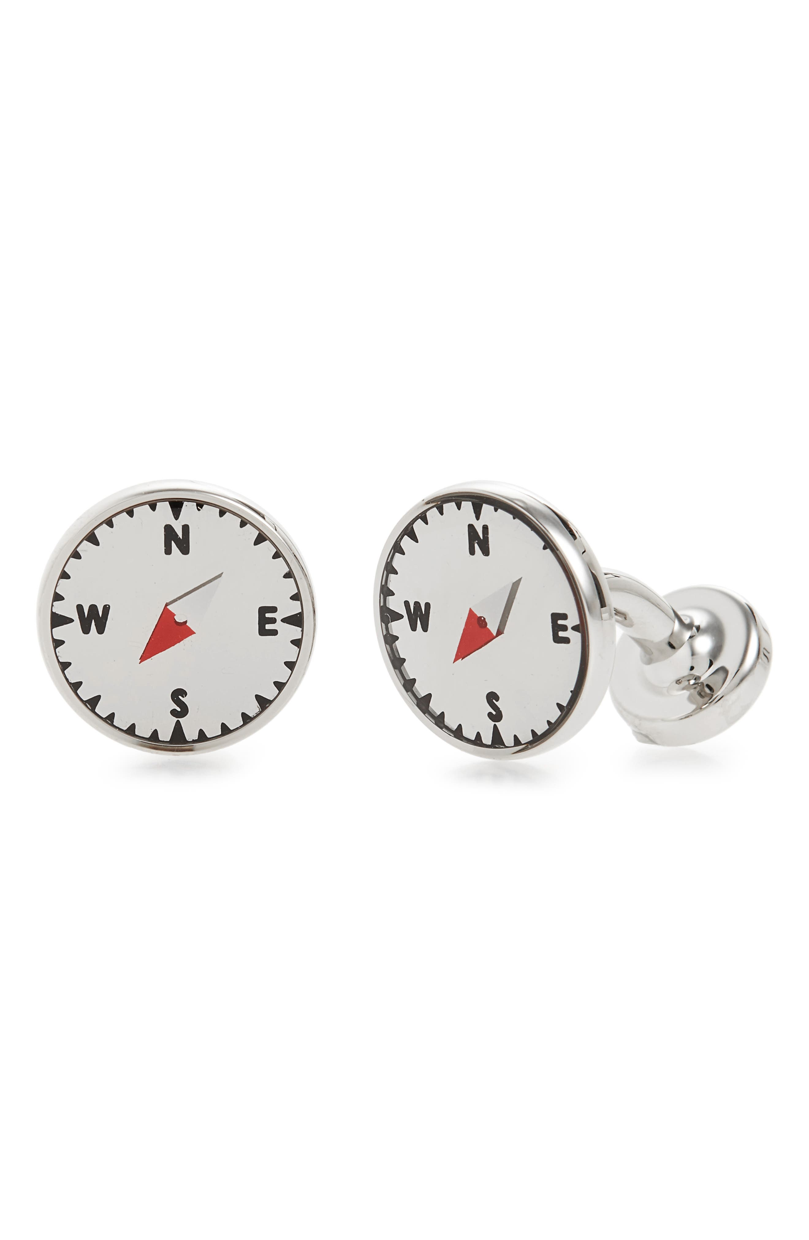 Compass Cuff Links,                         Main,                         color, Light Pastel Grey