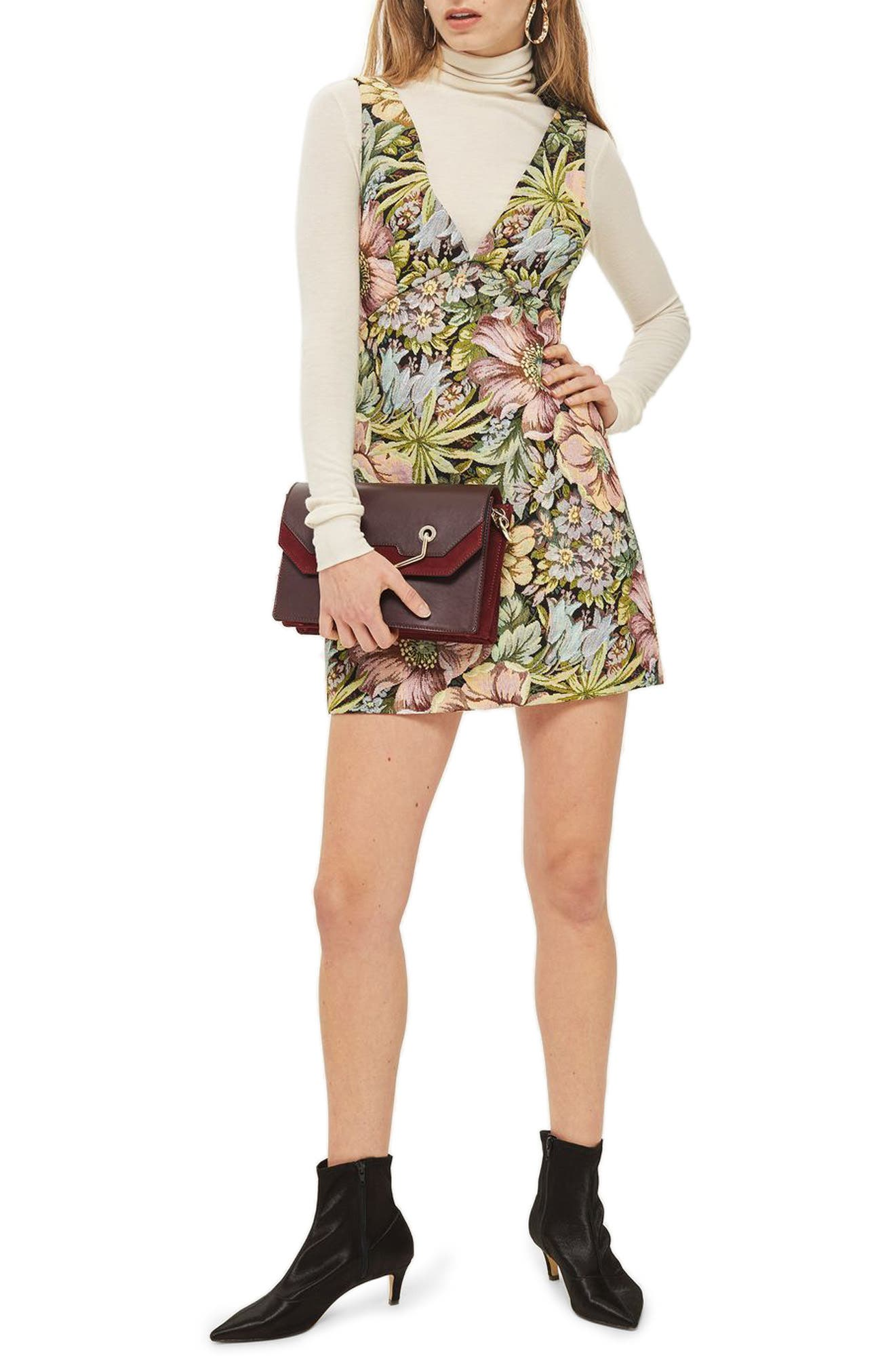 Topshop Floral Jacquard Pinafore Dress