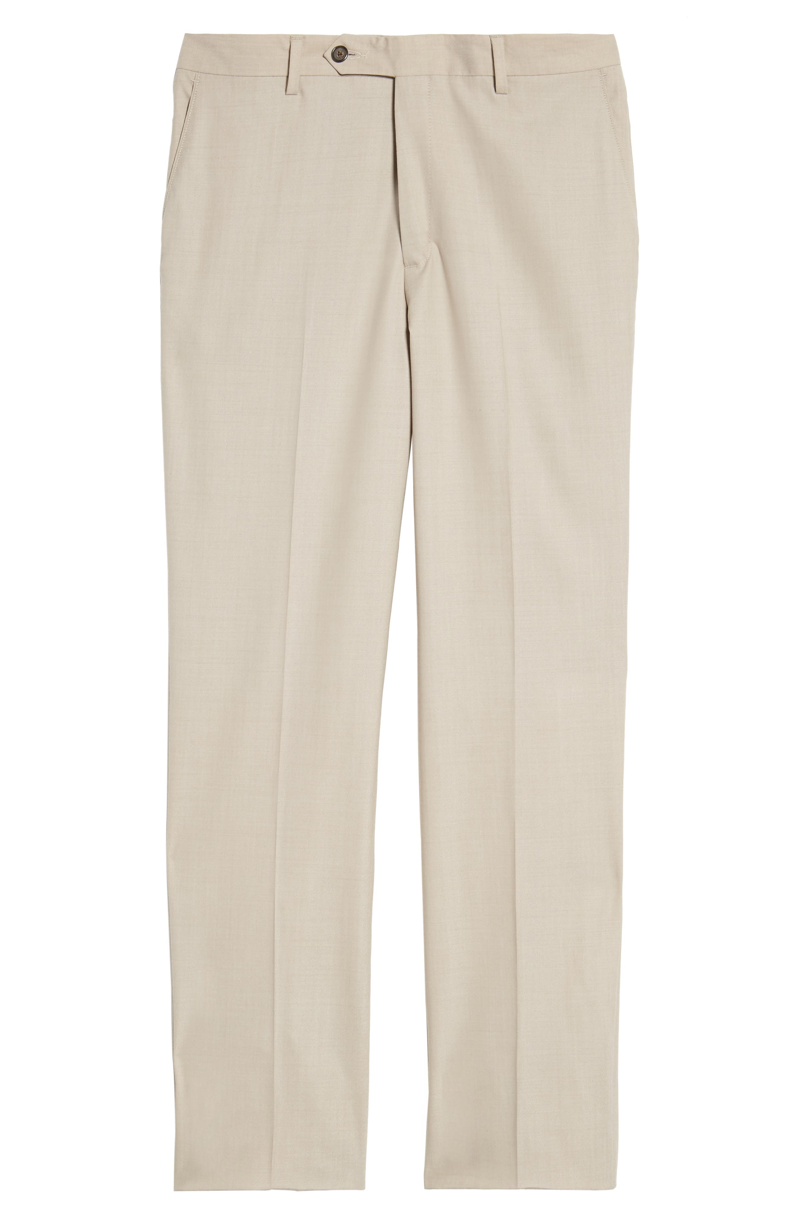 Flat Front Stretch Solid Wool Trousers,                             Alternate thumbnail 6, color,                             Tan