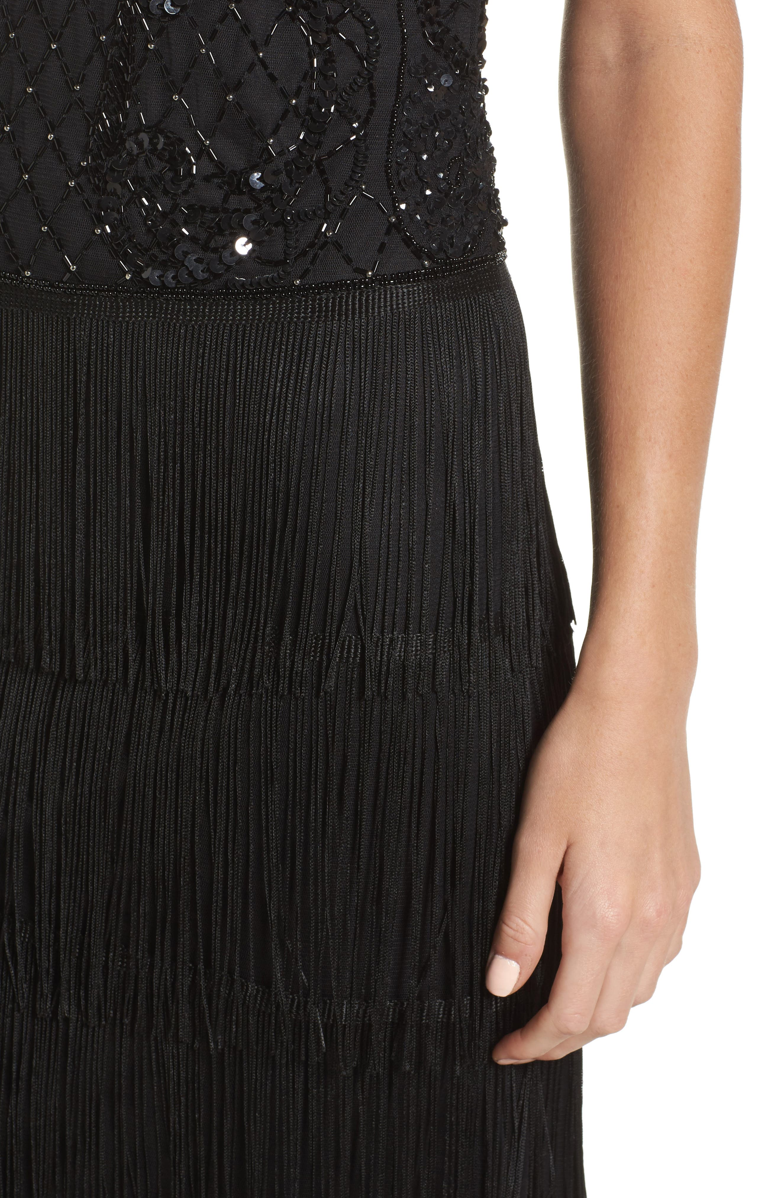Embellished Fringe Tiered Sheath Dress,                             Alternate thumbnail 4, color,                             Black