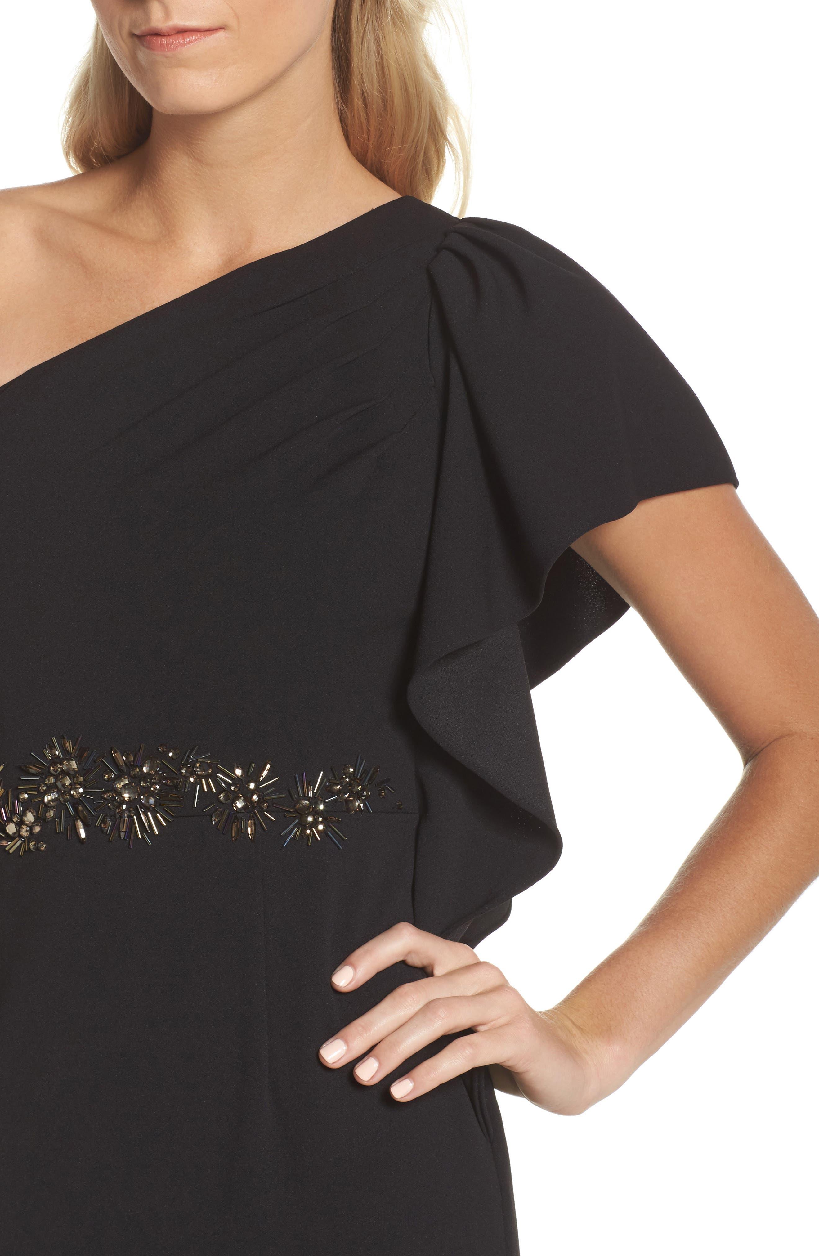 Beaded One-Shoulder Crepe Gown,                             Alternate thumbnail 4, color,                             Black