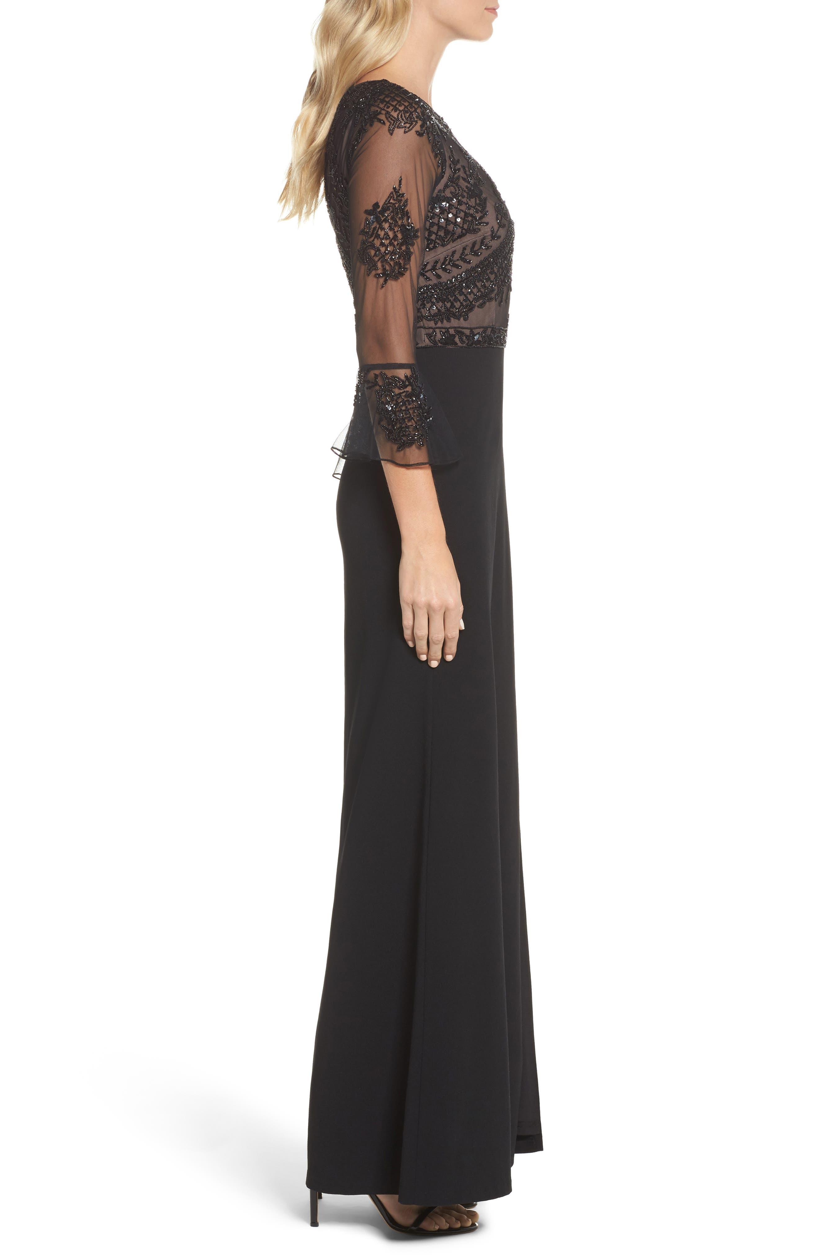 Embellished Ruffle Sleeve Mesh & Crepe Gown,                             Alternate thumbnail 3, color,                             Black