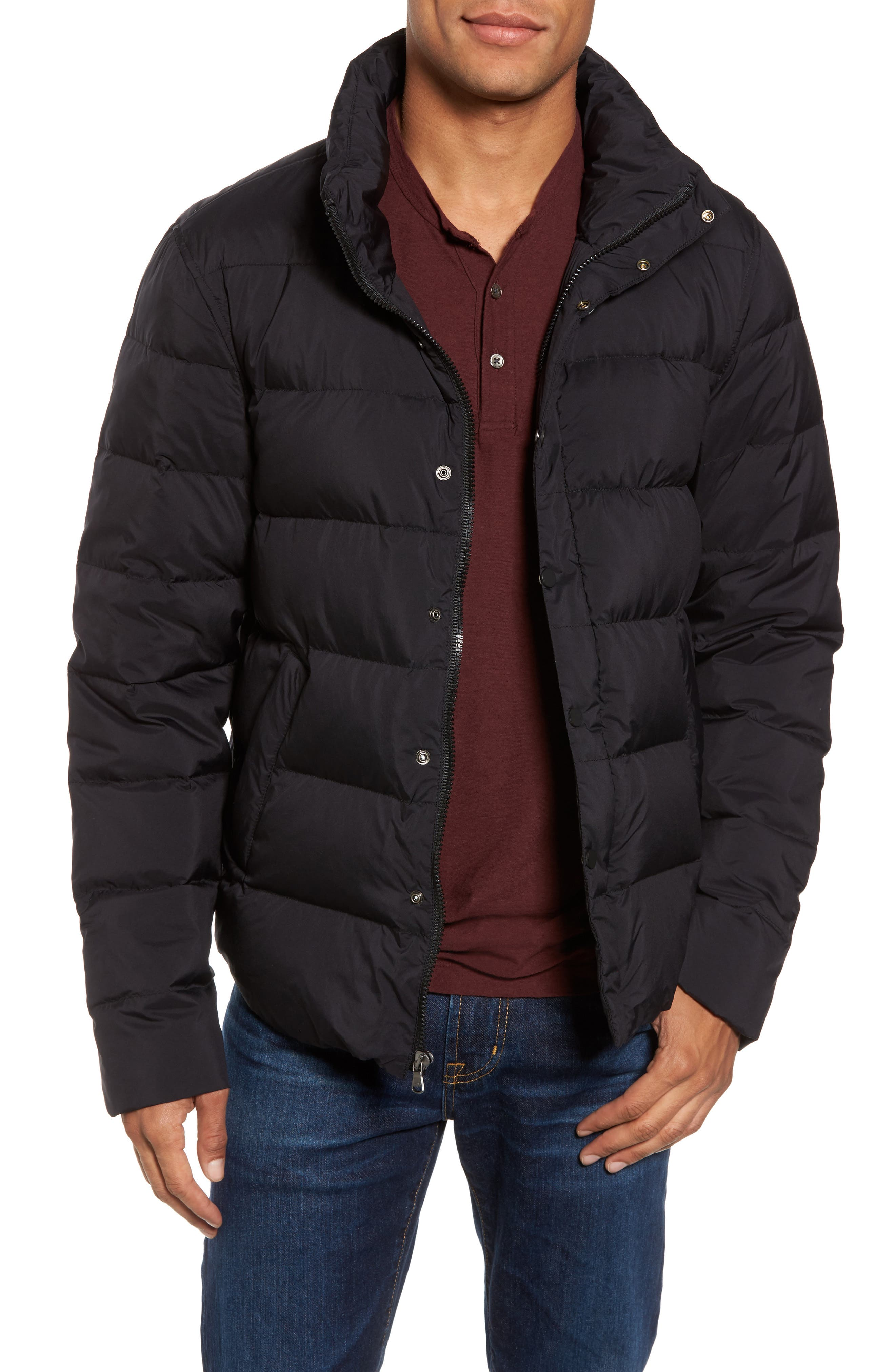 Quilted Down Jacket,                         Main,                         color, Black