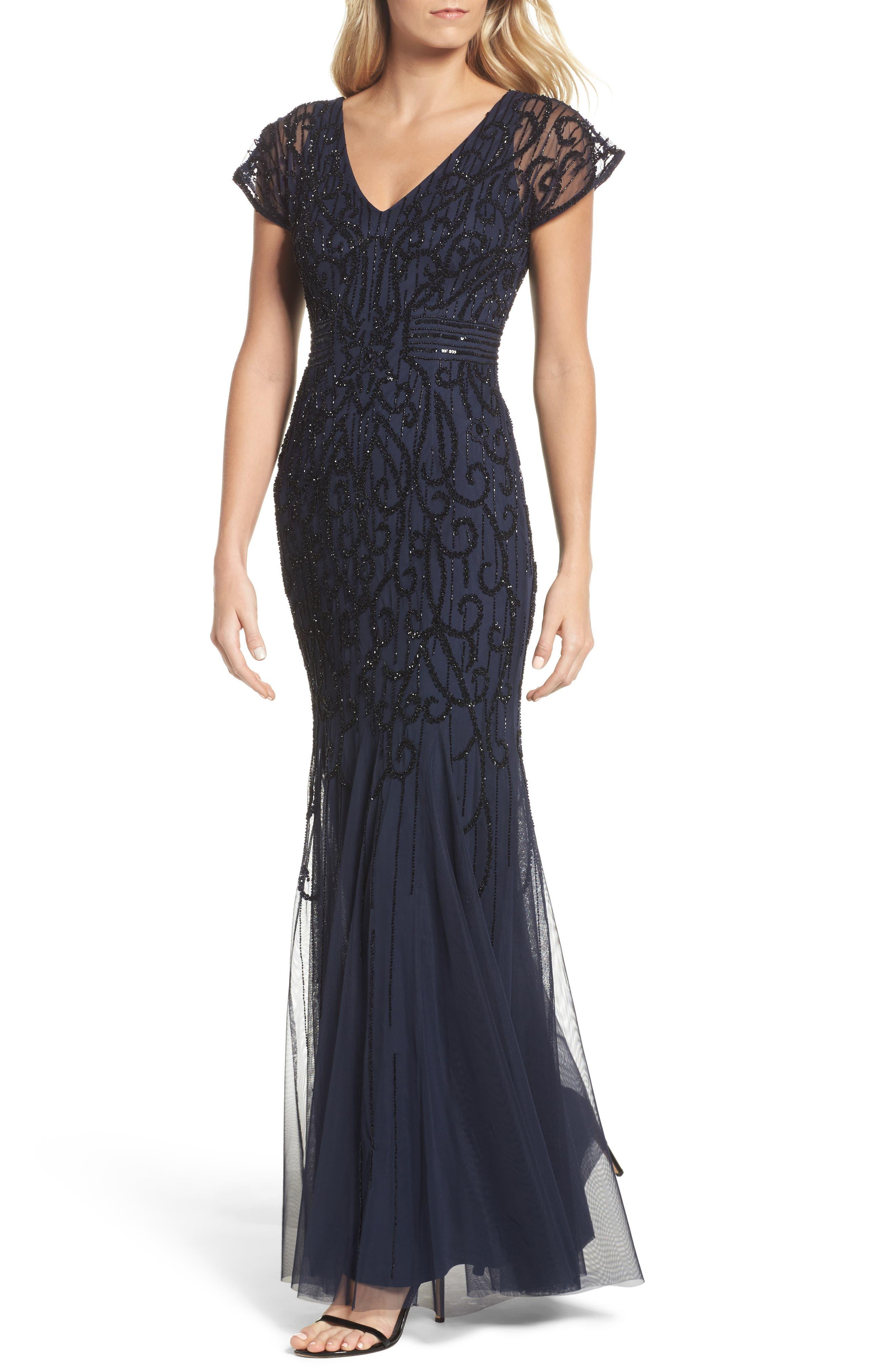 Beaded Mesh Godet Gown,                         Main,                         color, Navy Black
