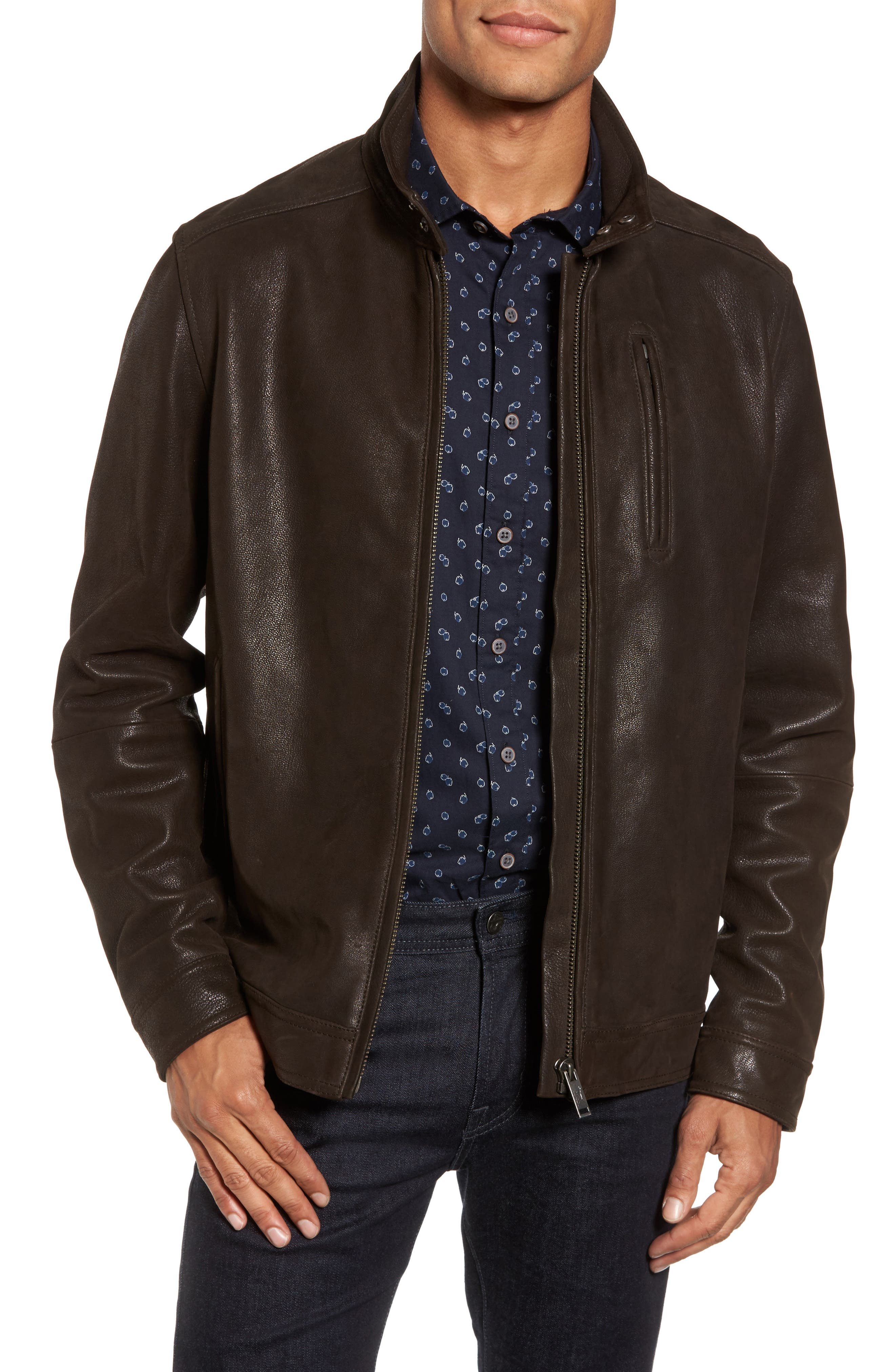 Westhaven Distressed Leather Bomber Jacket,                         Main,                         color, Chocolate