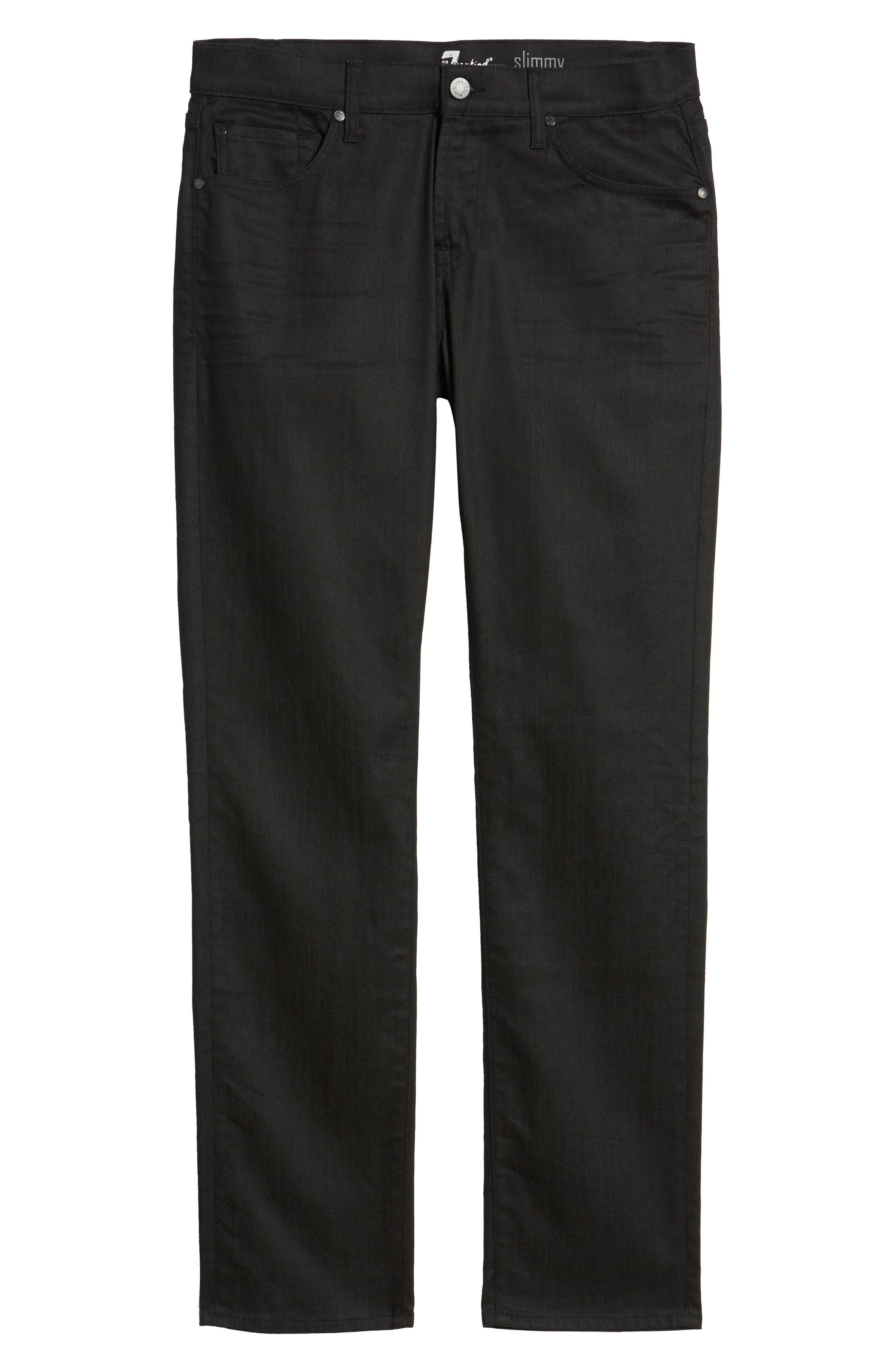 Alternate Image 6  - 7 For All Mankind® Airweft - Slimmy Slim Fit Jeans (Soiree Black)