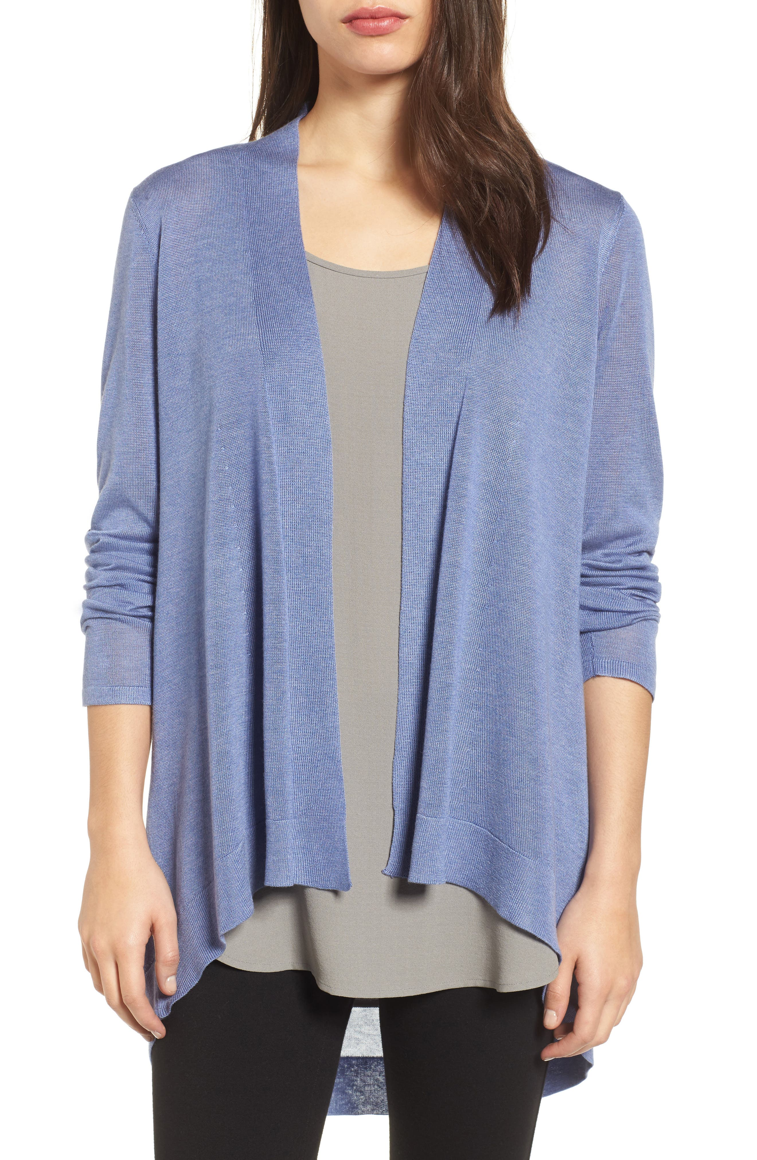 Tencel<sup>®</sup> Lyocell & Merino Wool Shaped Cardigan,                         Main,                         color, Periwinkle