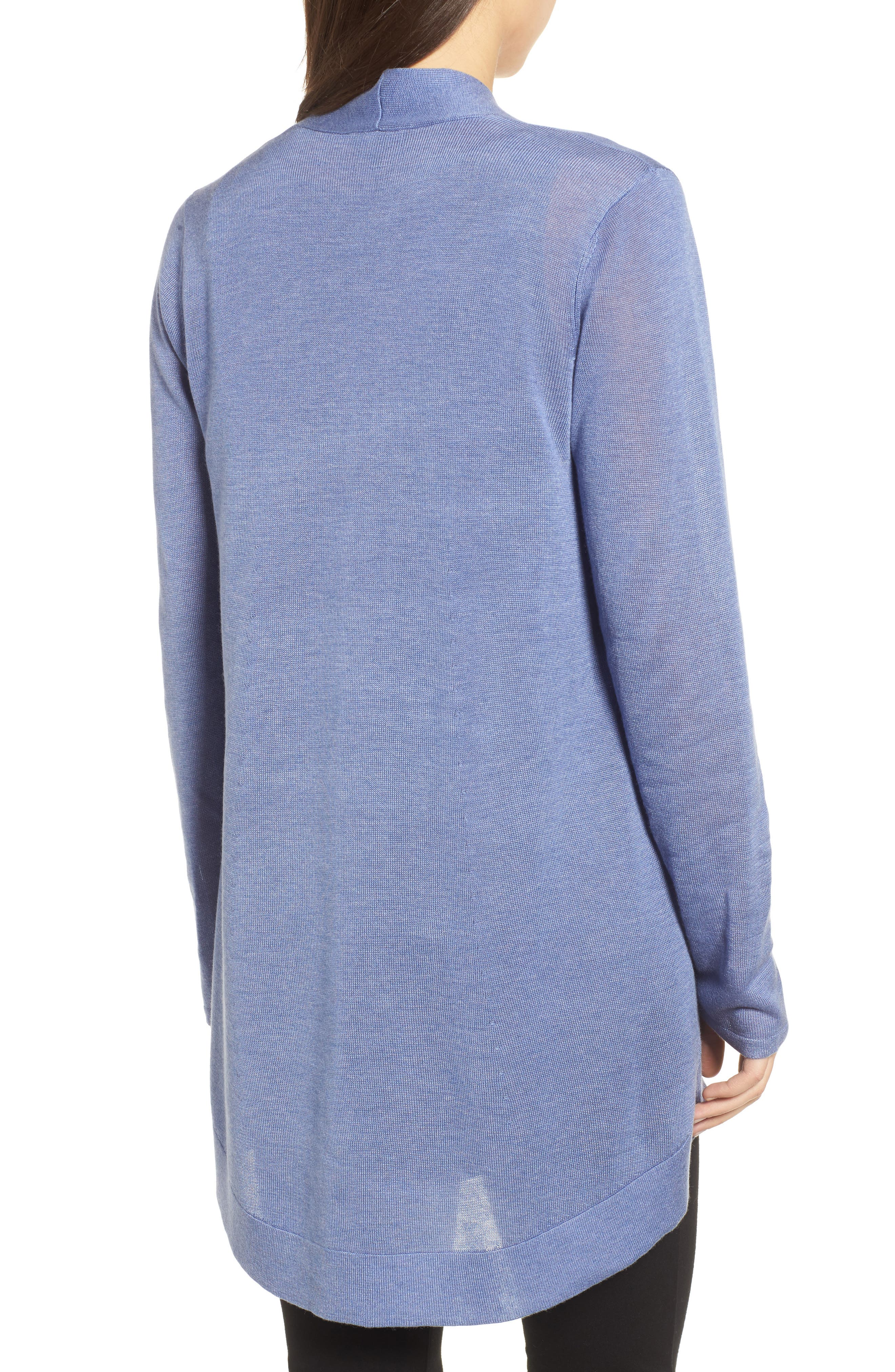 Tencel<sup>®</sup> Lyocell & Merino Wool Shaped Cardigan,                             Alternate thumbnail 2, color,                             Periwinkle