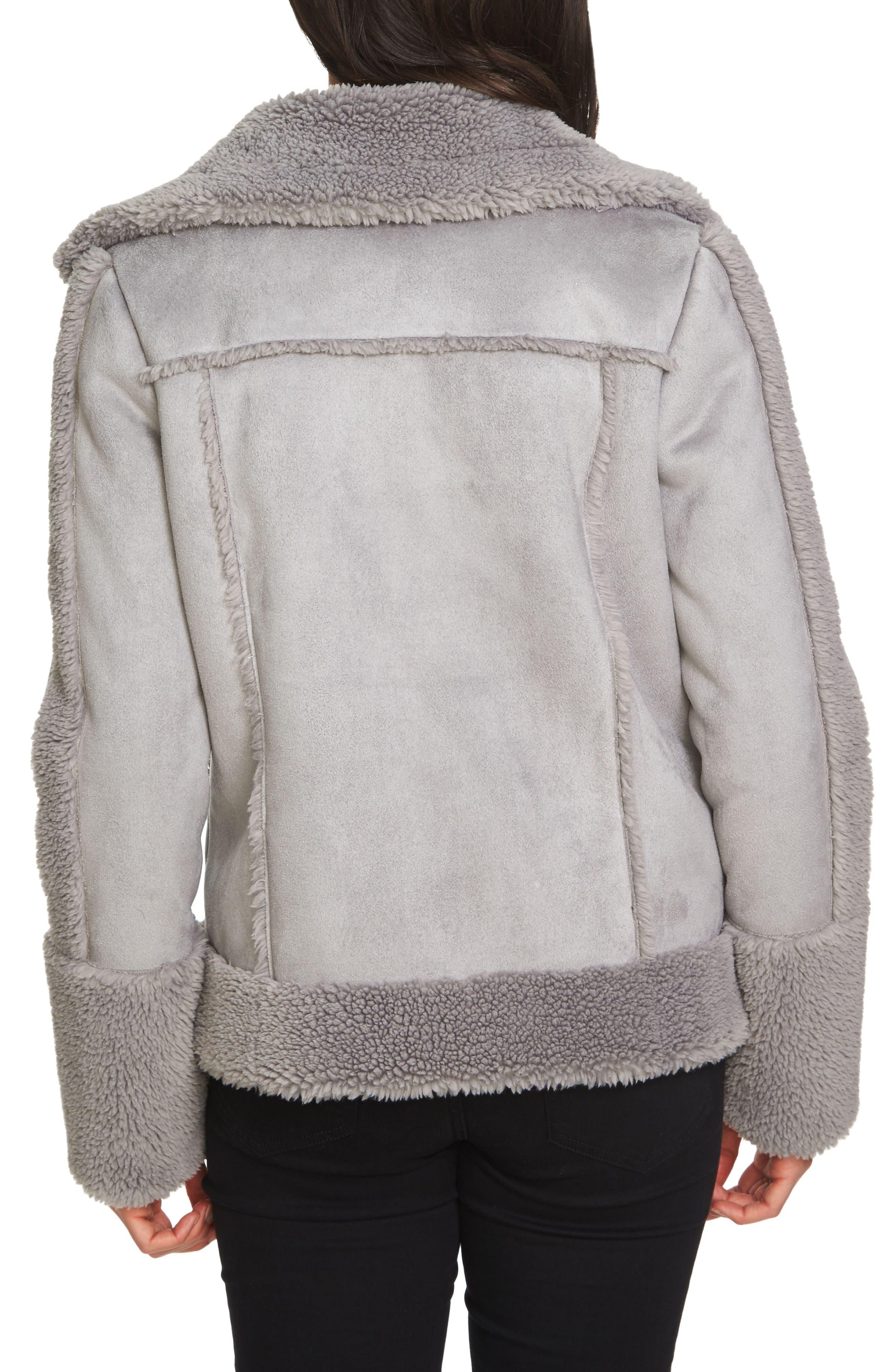 Faux Shearling Moto Jacket,                             Alternate thumbnail 2, color,                             139-Soot Grey